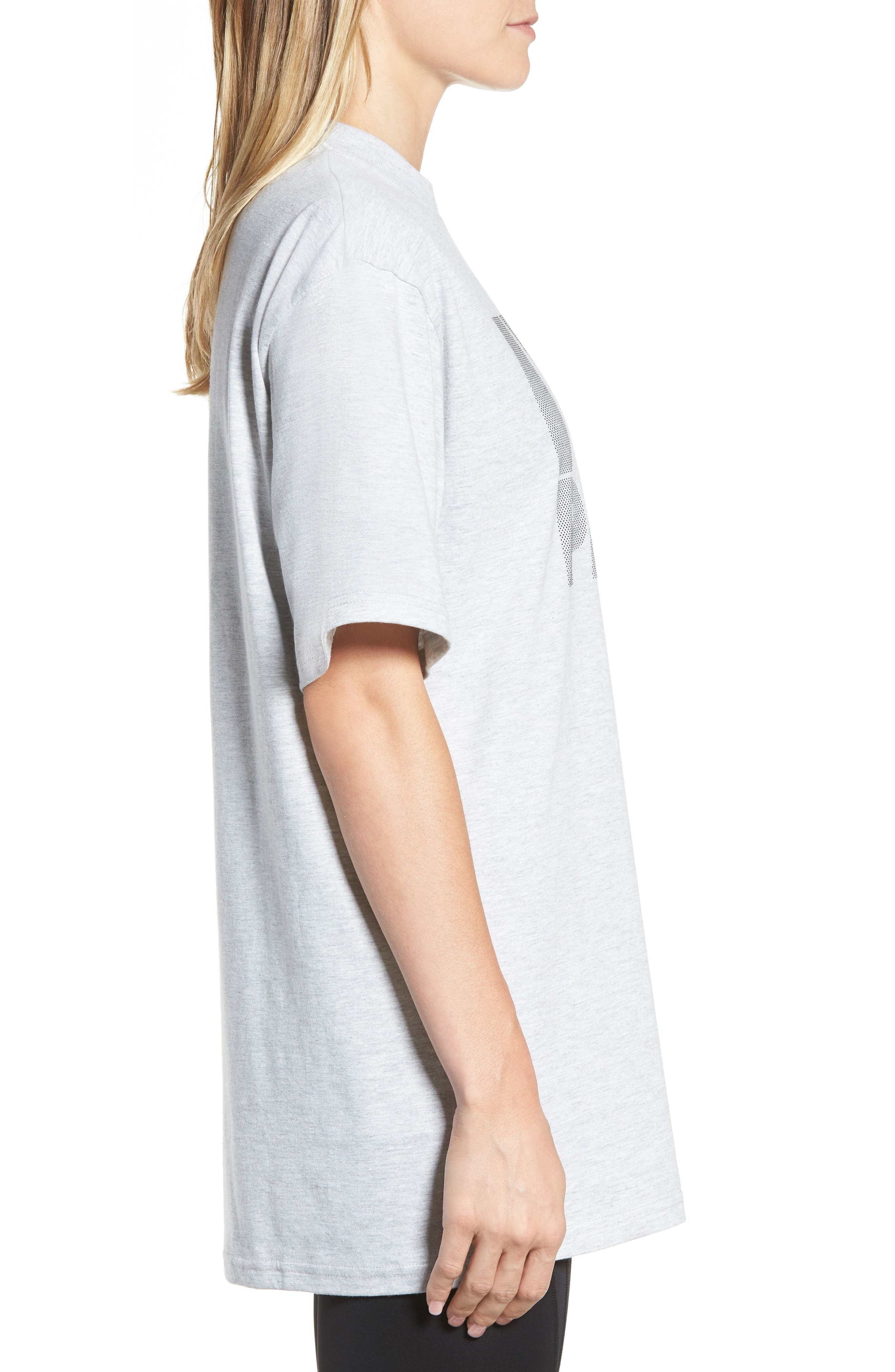 Dotted Logo Oversized Tee,                             Alternate thumbnail 3, color,                             Grey Marl