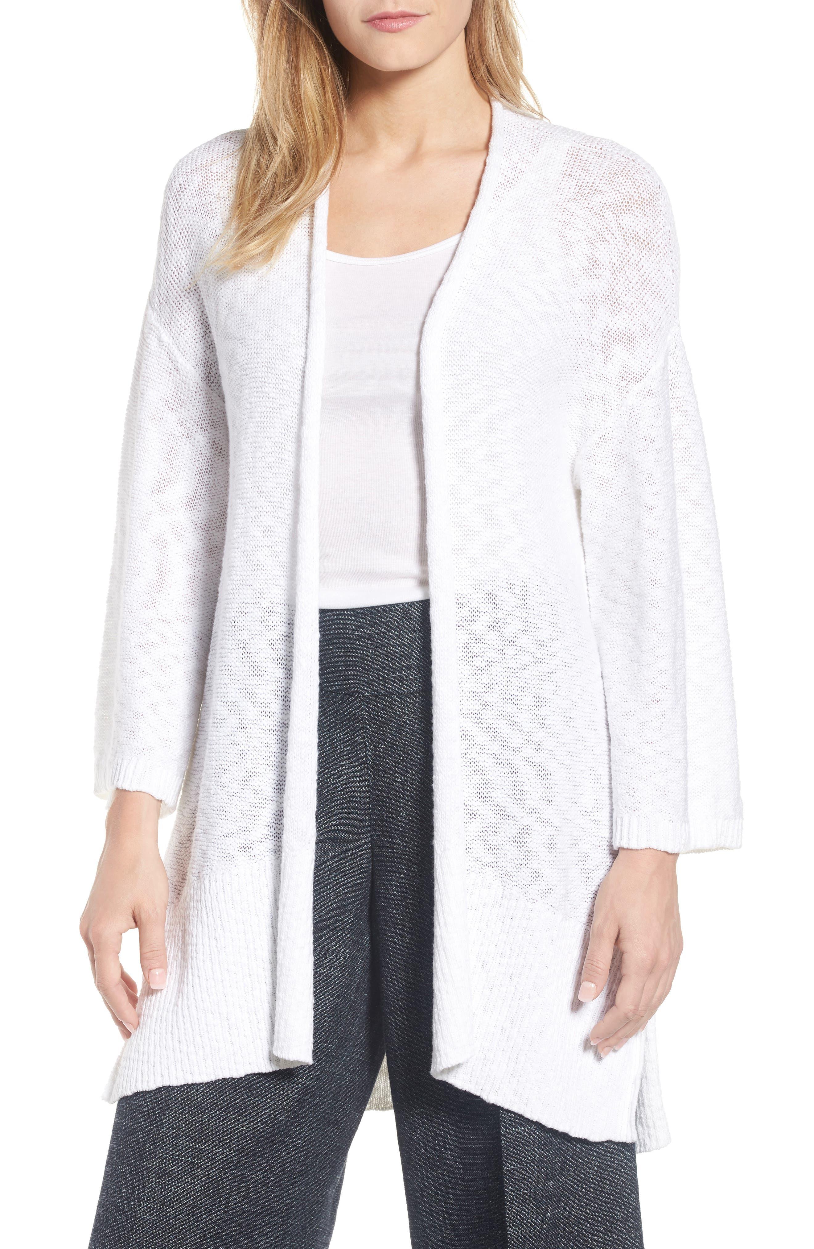 Long Organic Cotton Cardigan,                             Main thumbnail 1, color,                             White