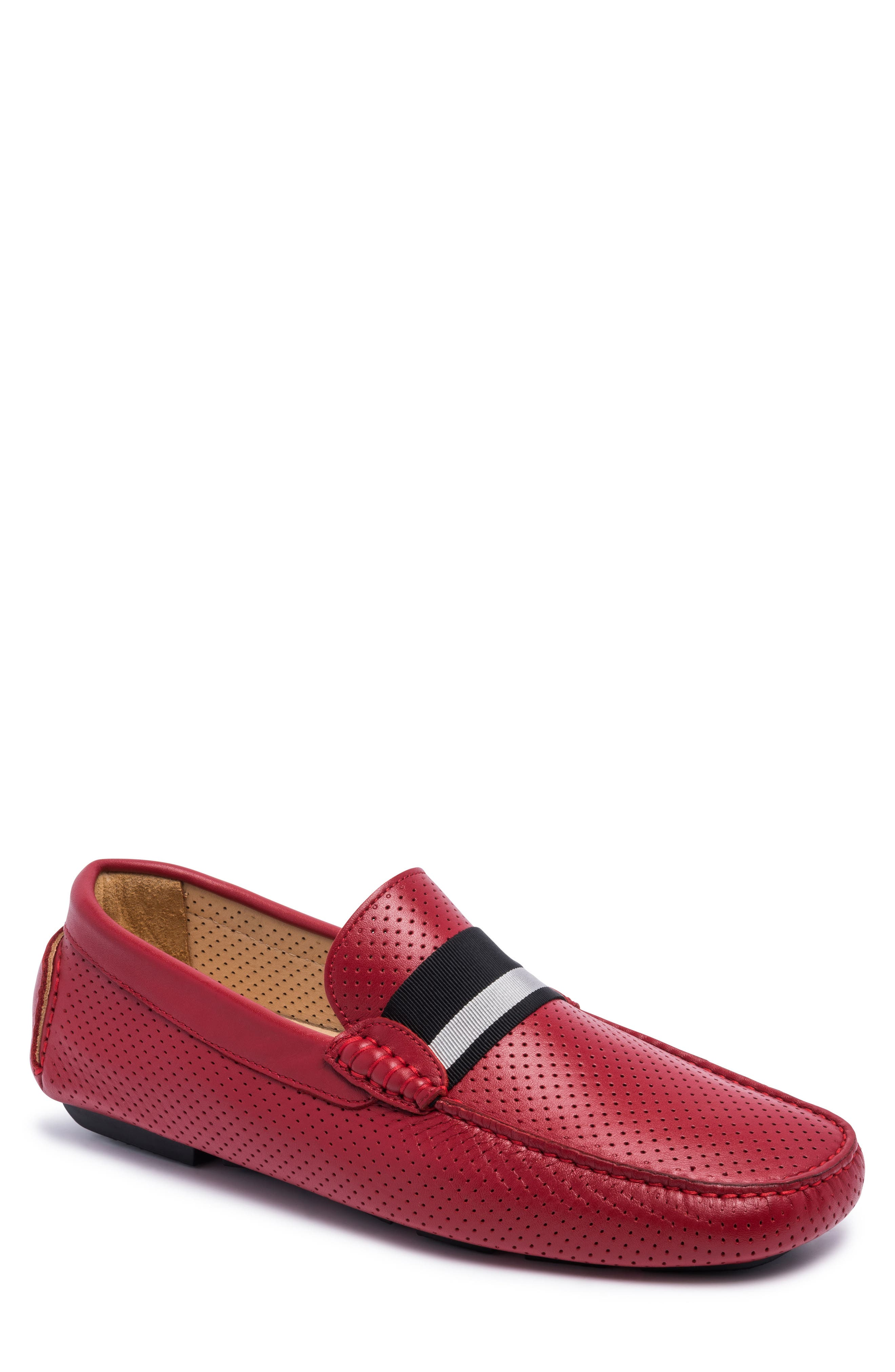 Sardegna Driving Shoe,                         Main,                         color, Red Leather