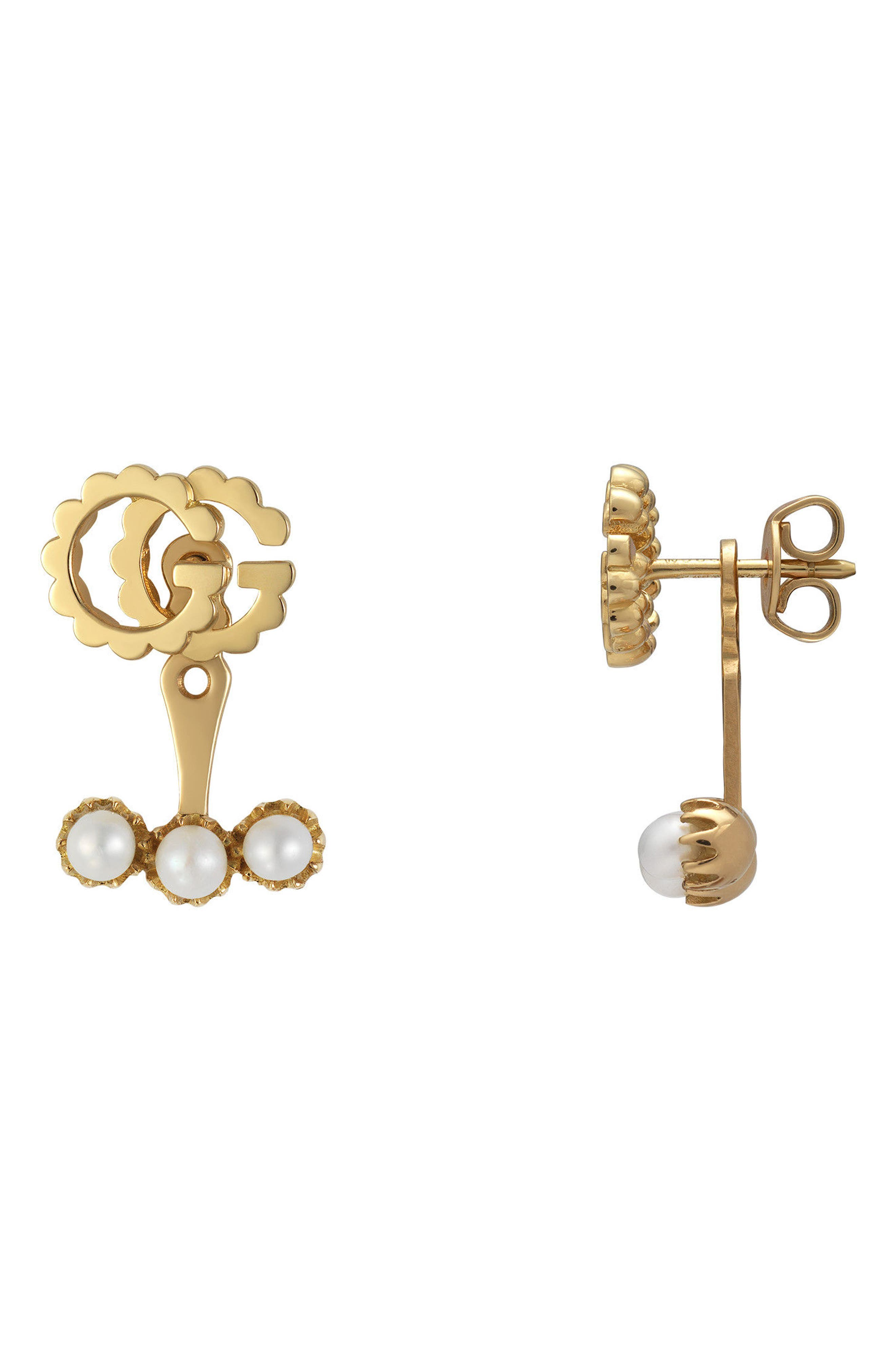 Gucci GG Running Single Stud Earring with Pearls