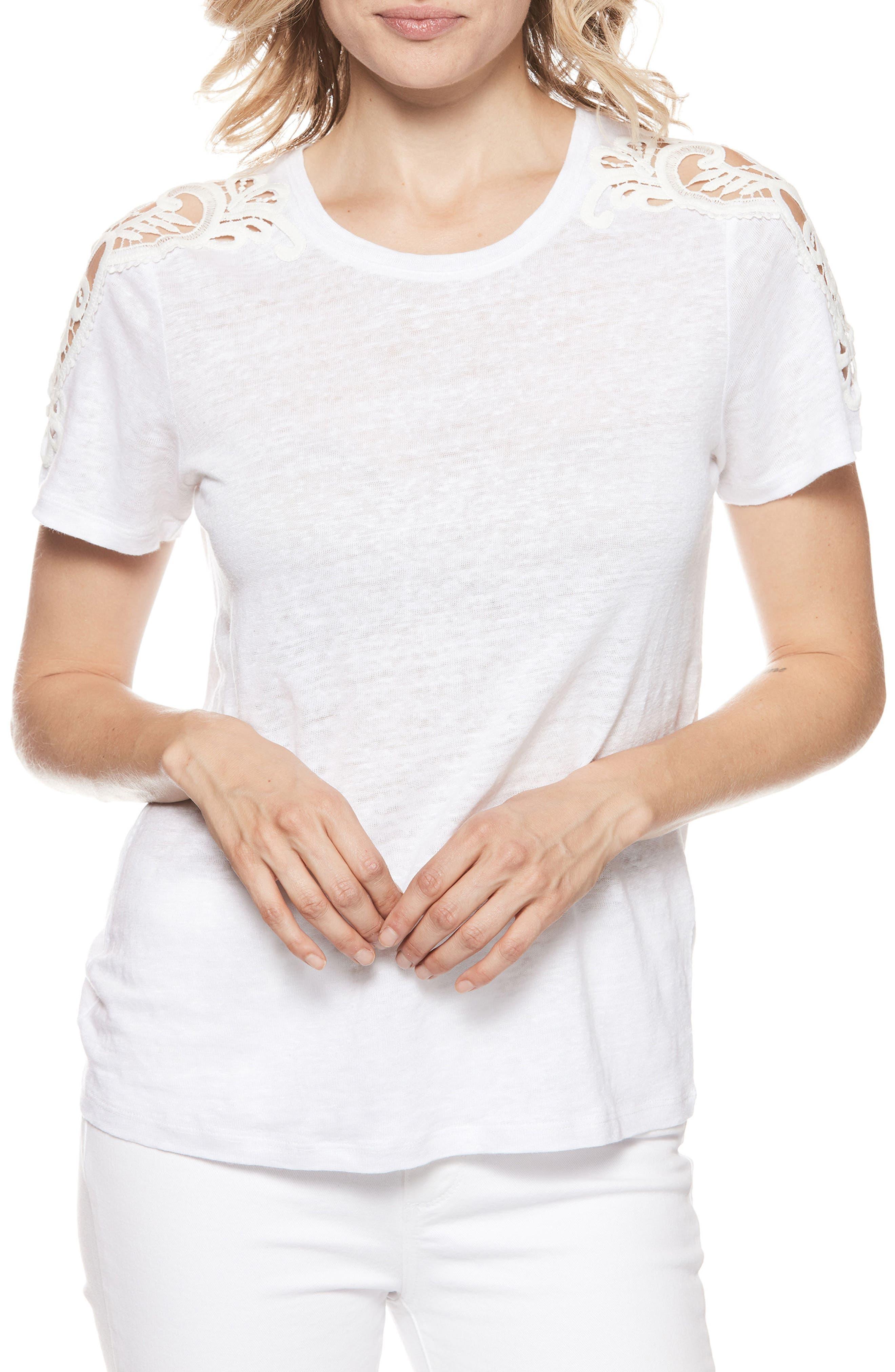 Cassandra Linen Tee,                         Main,                         color, White