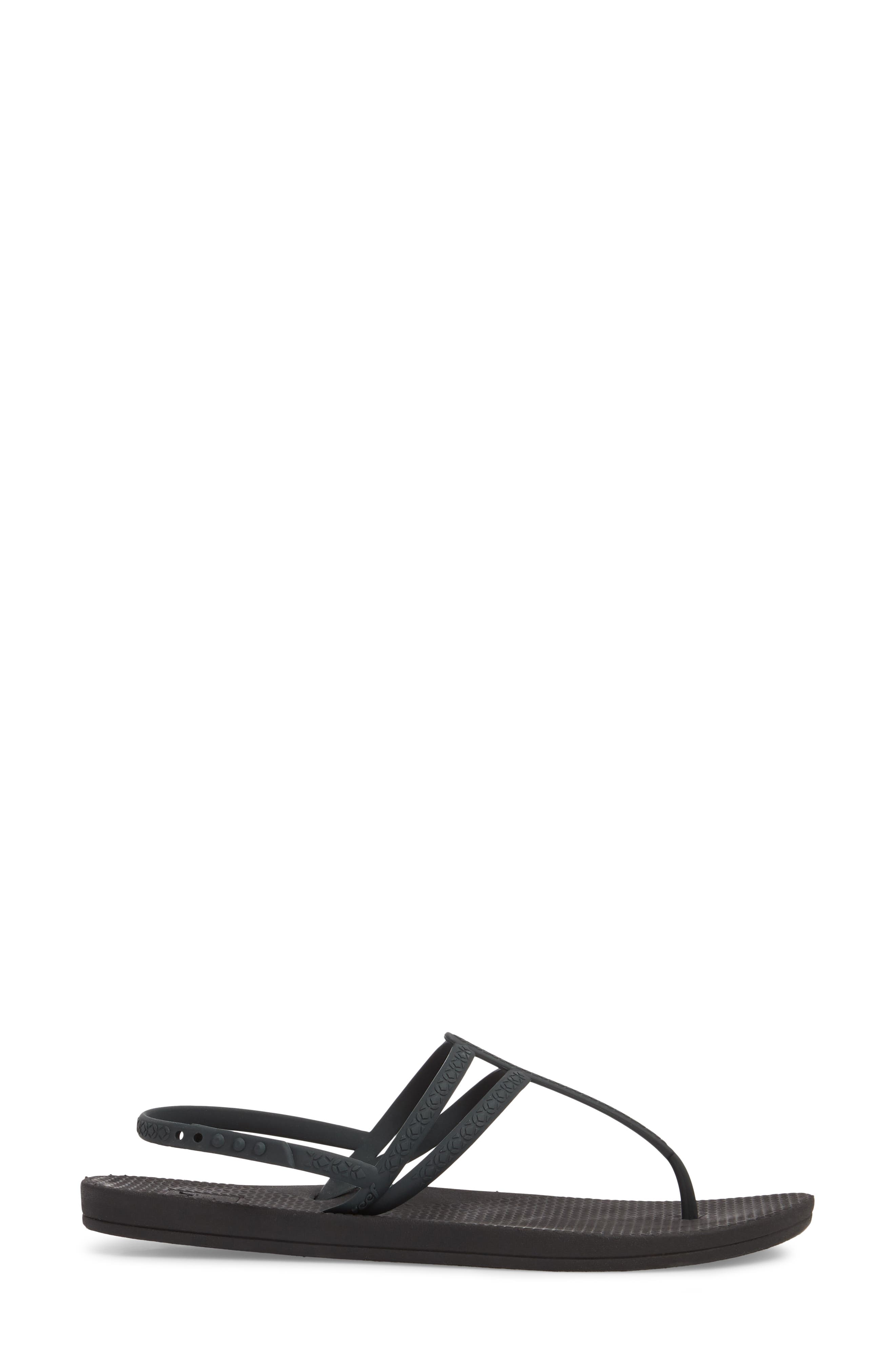 Escape Lux T-Strap Sandal,                             Alternate thumbnail 3, color,                             Black