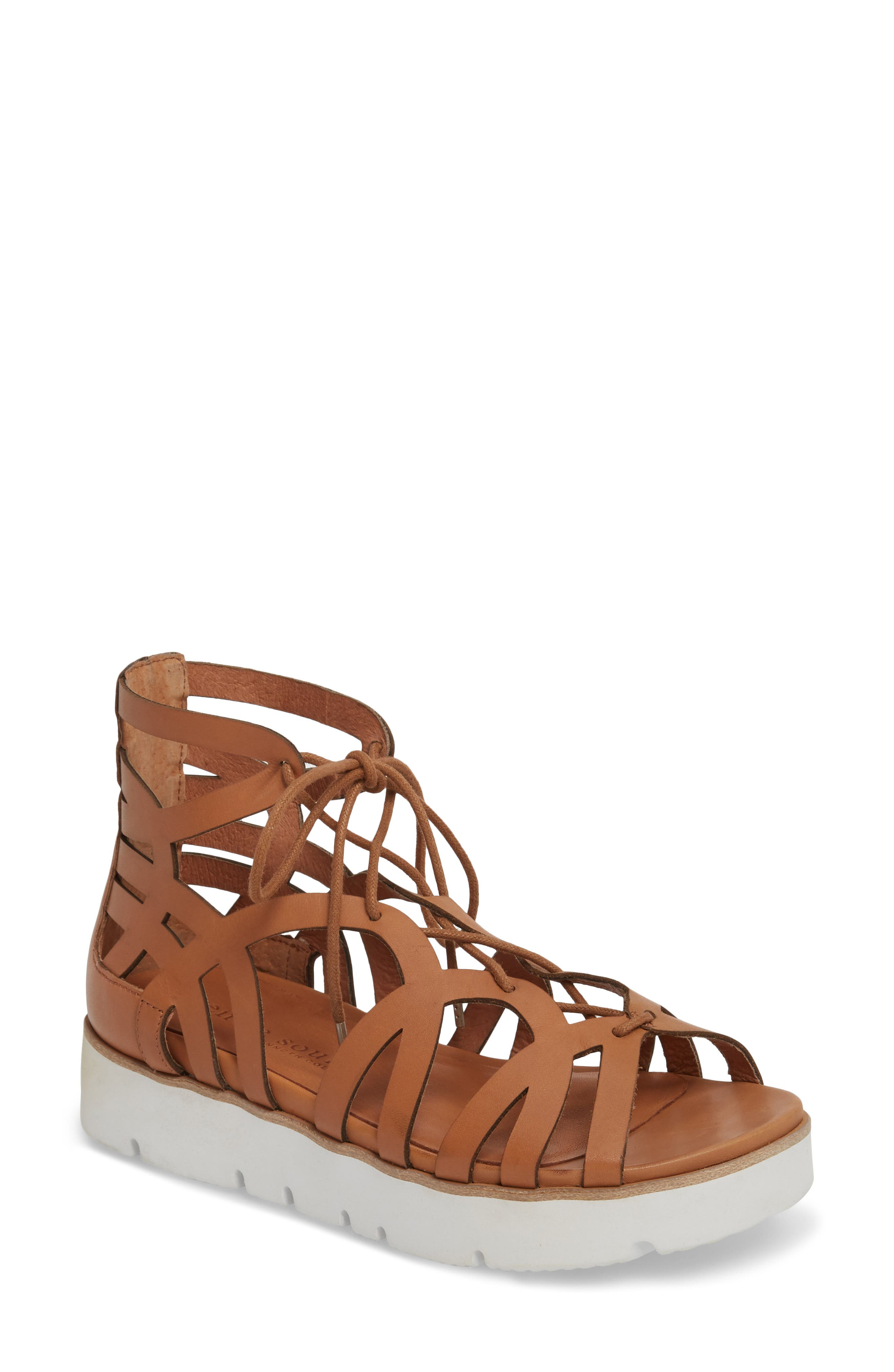 by Kenneth Cole Larina Lace-Up Sandal,                             Main thumbnail 1, color,                             Tan Leather