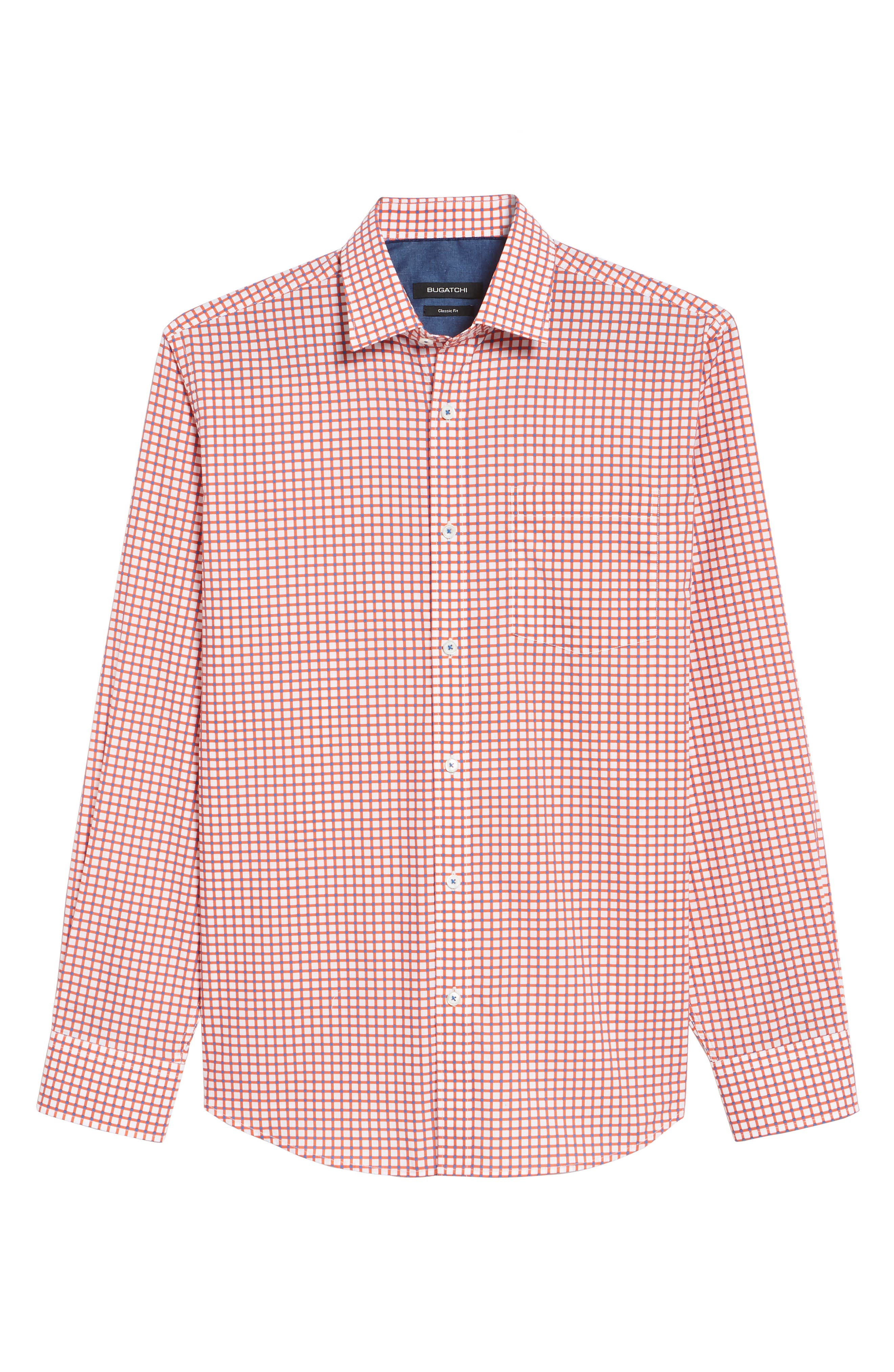 Classic Fit Check Sport Shirt,                             Alternate thumbnail 6, color,                             Tangerine