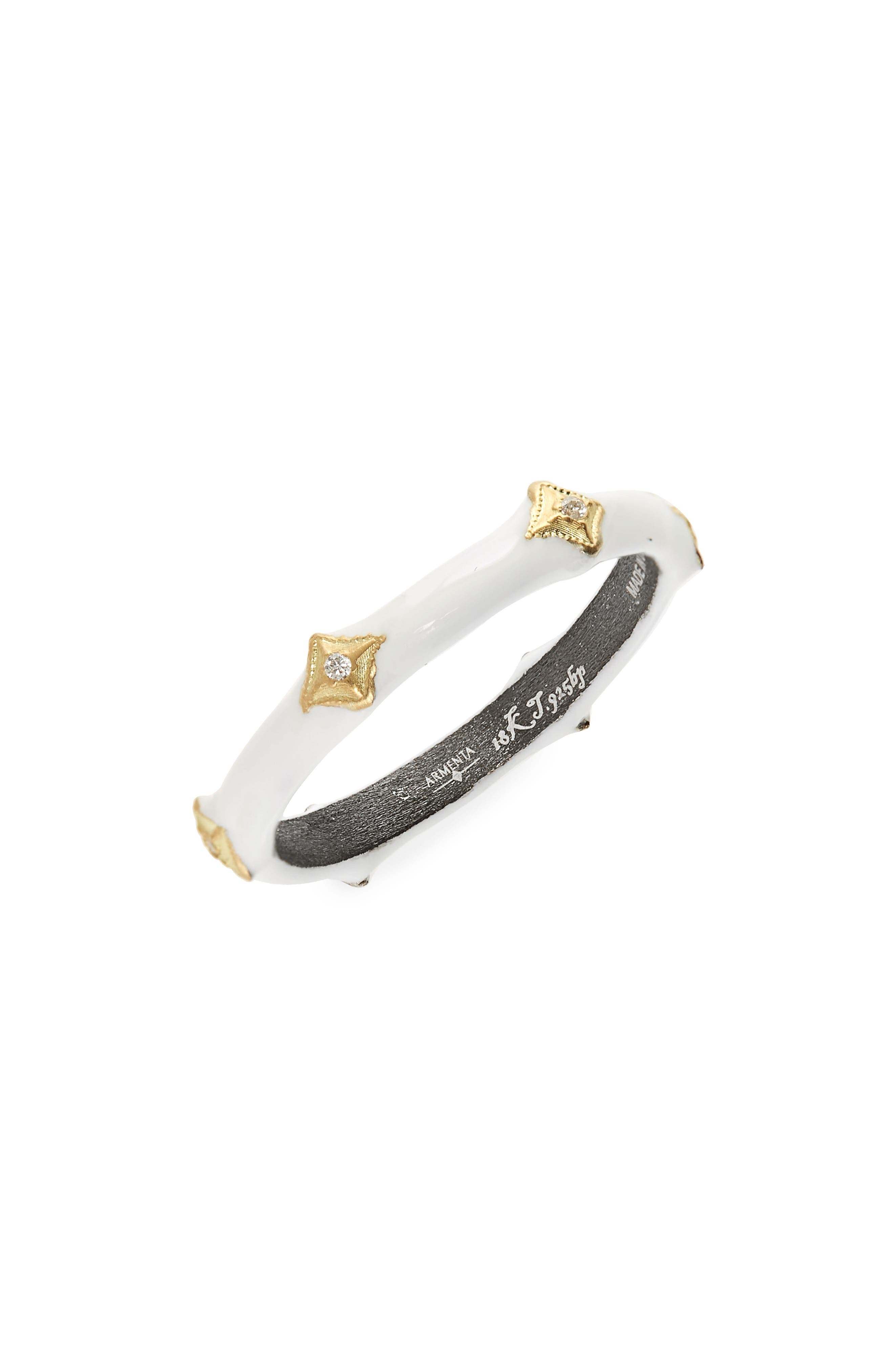 Old World Enamel Crivelli Ring,                             Main thumbnail 1, color,                             Blackened Silver/ Gold