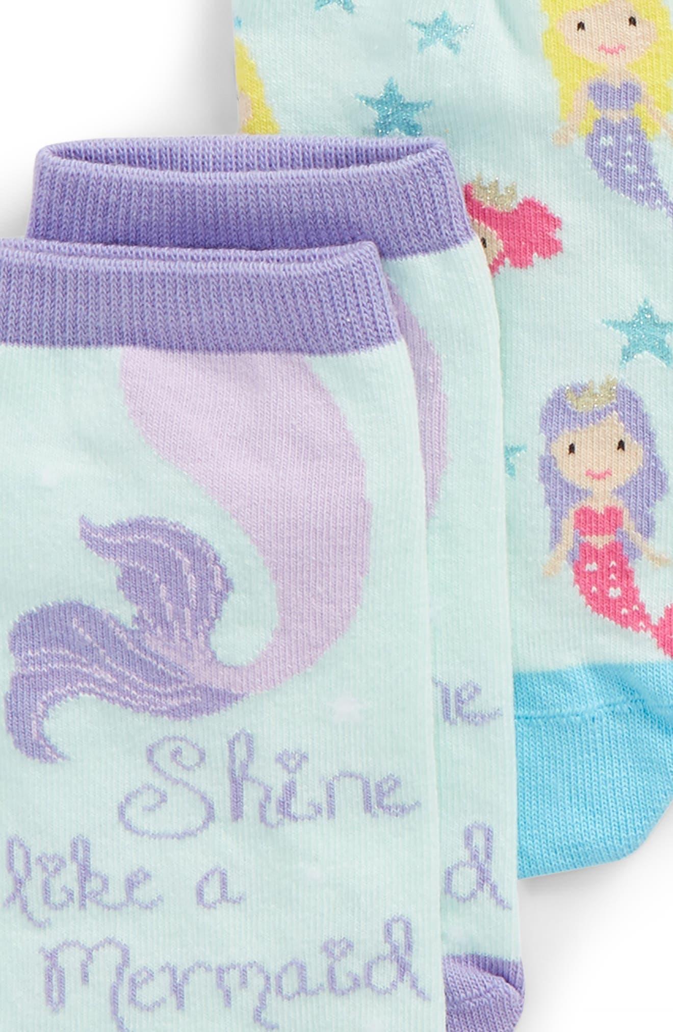 6-Pack Mermaid Low Cut Socks,                             Alternate thumbnail 2, color,                             Blue Multi