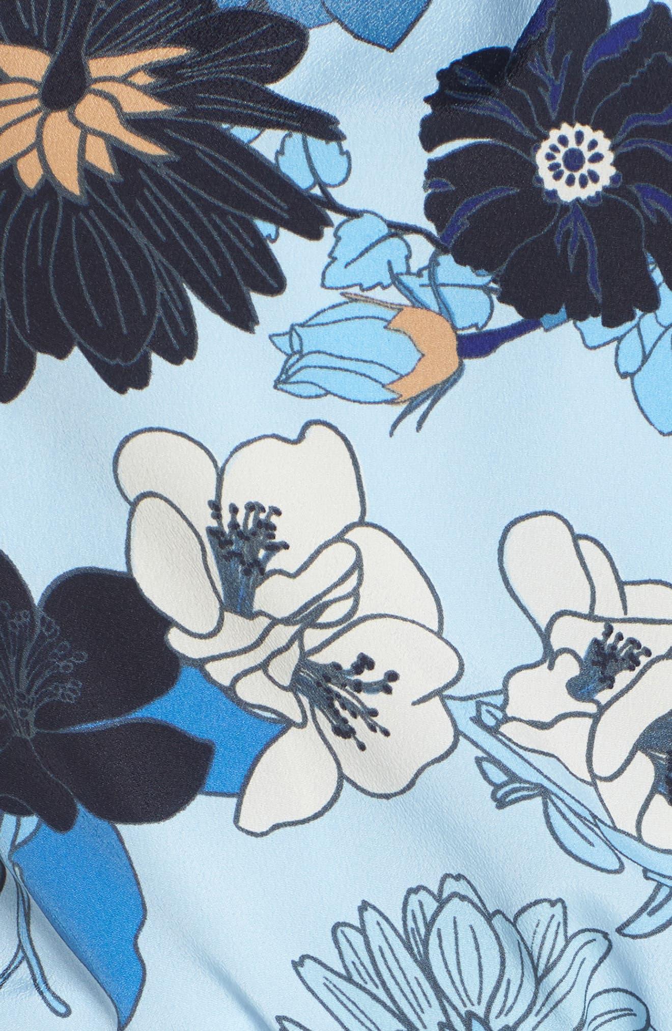 Floral Blouson Midi Dress,                             Alternate thumbnail 6, color,                             Light Blue