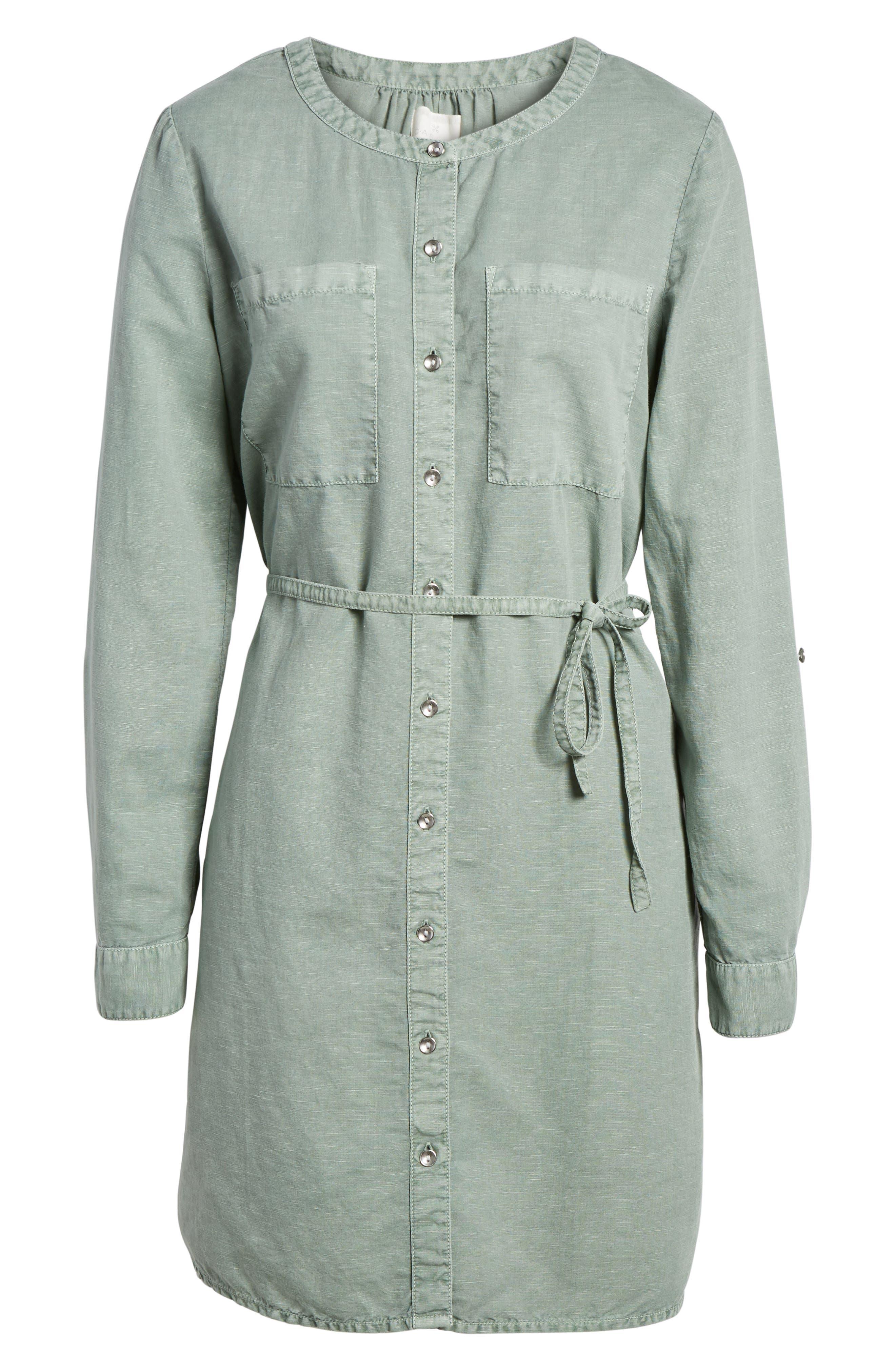 Linen Cotton Shirtdress,                             Alternate thumbnail 6, color,                             Green Lilypad