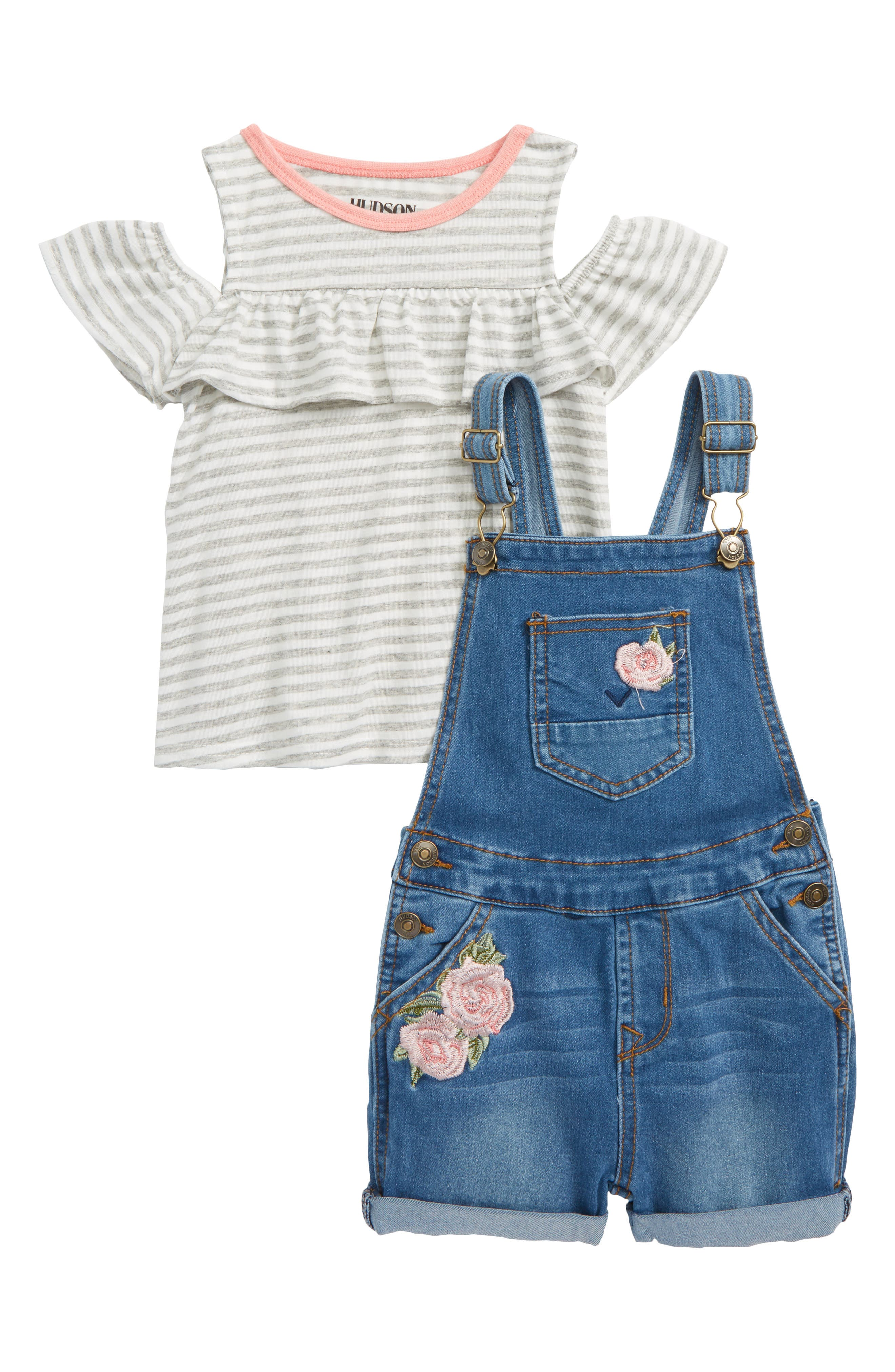 Overalls & Tee Set,                             Main thumbnail 1, color,                             Whatever Wash