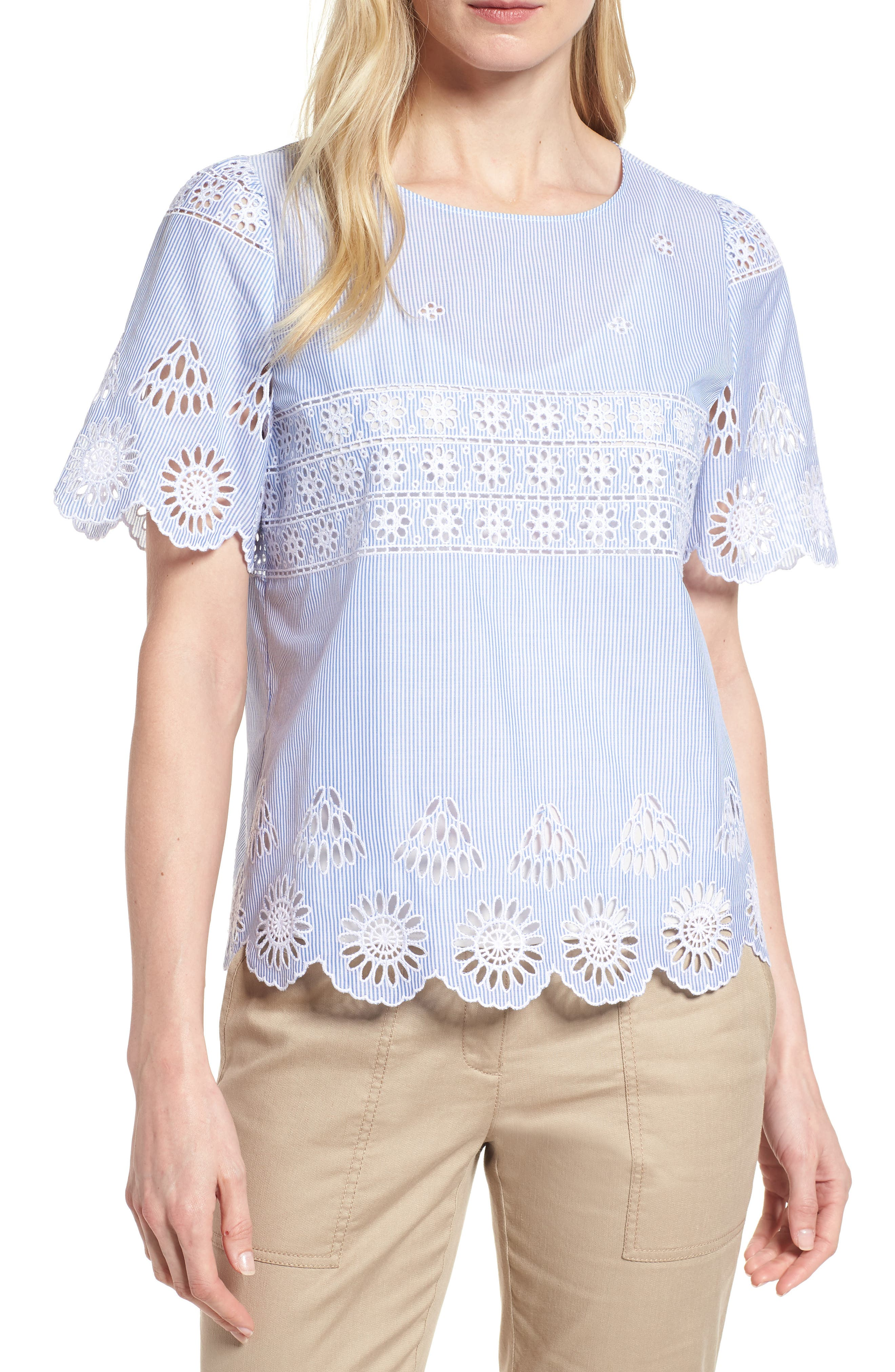 Short Sleeve Eyelet Top,                         Main,                         color, Blue Canal- White Stripe