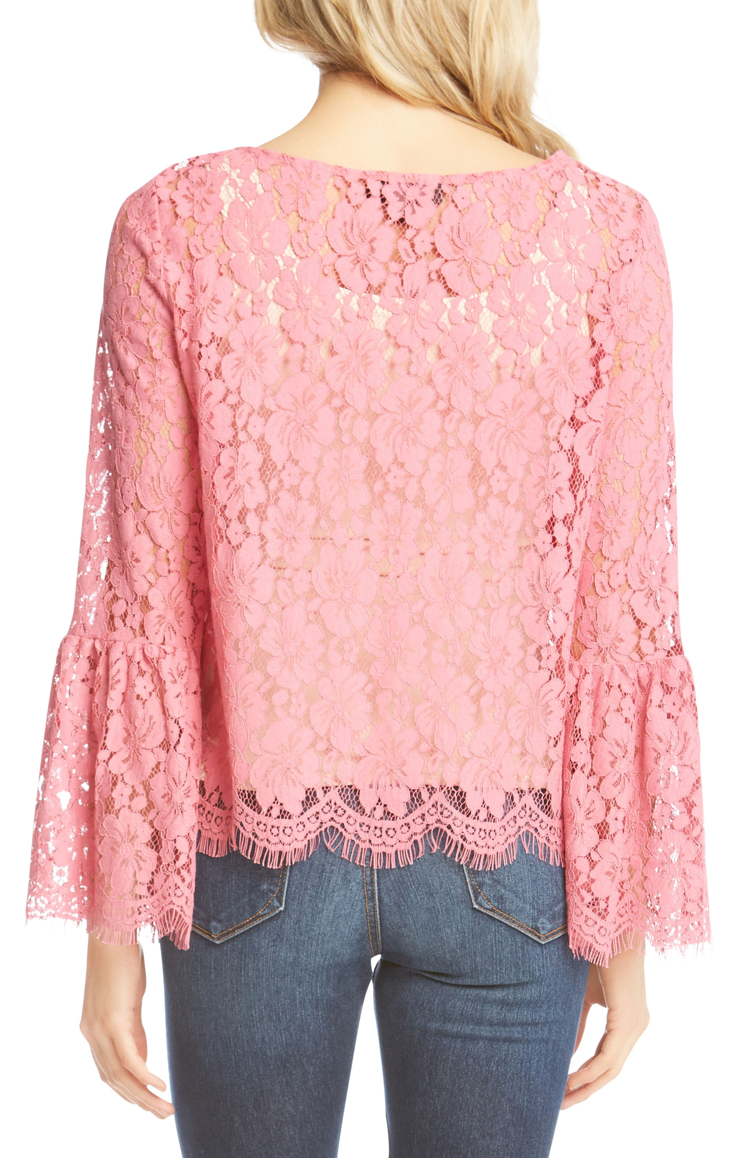 Bell Sleeve Lace Blouse,                             Alternate thumbnail 2, color,                             Peony