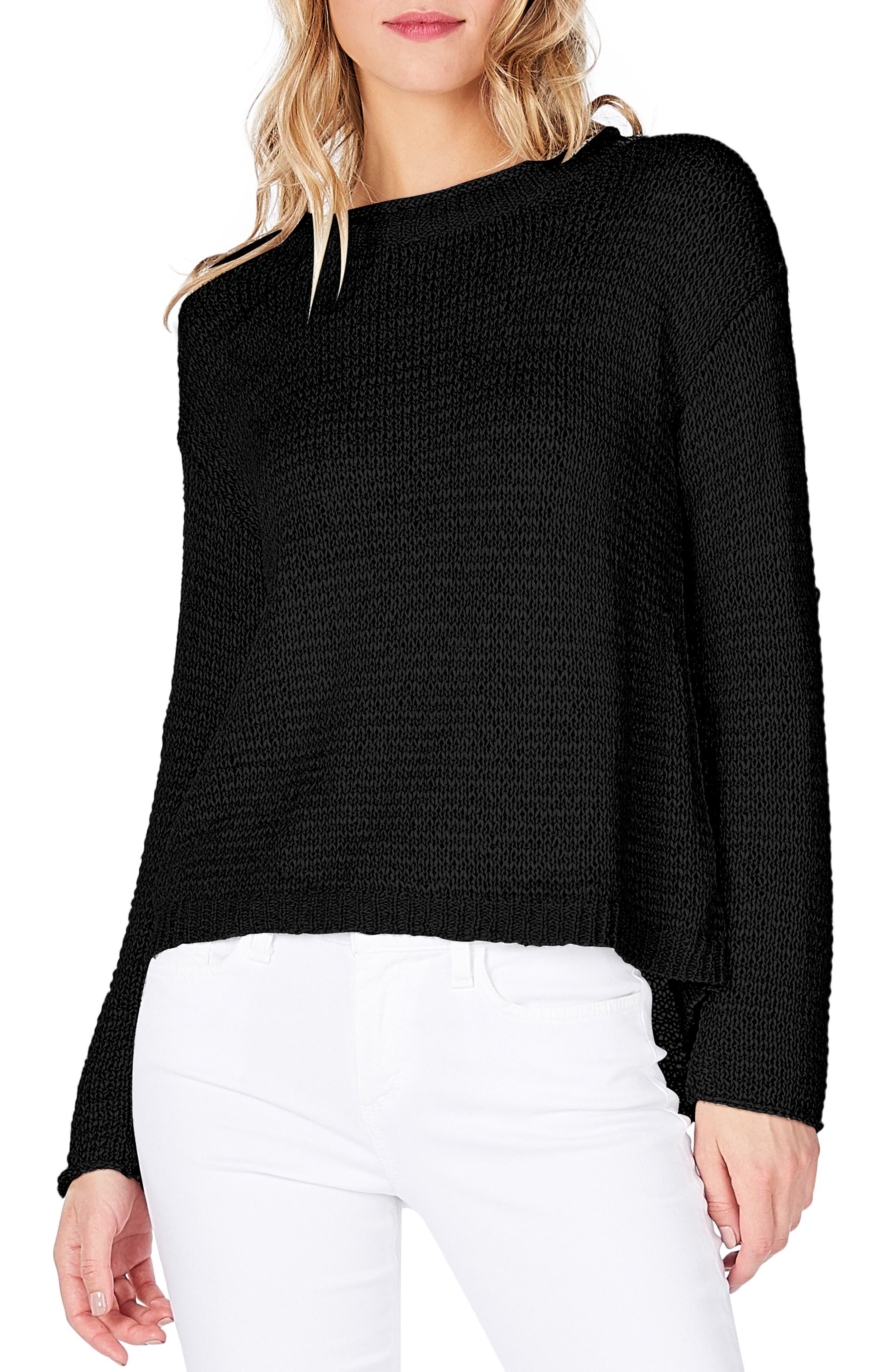 Keyhole Back Sweater,                             Main thumbnail 1, color,                             Black
