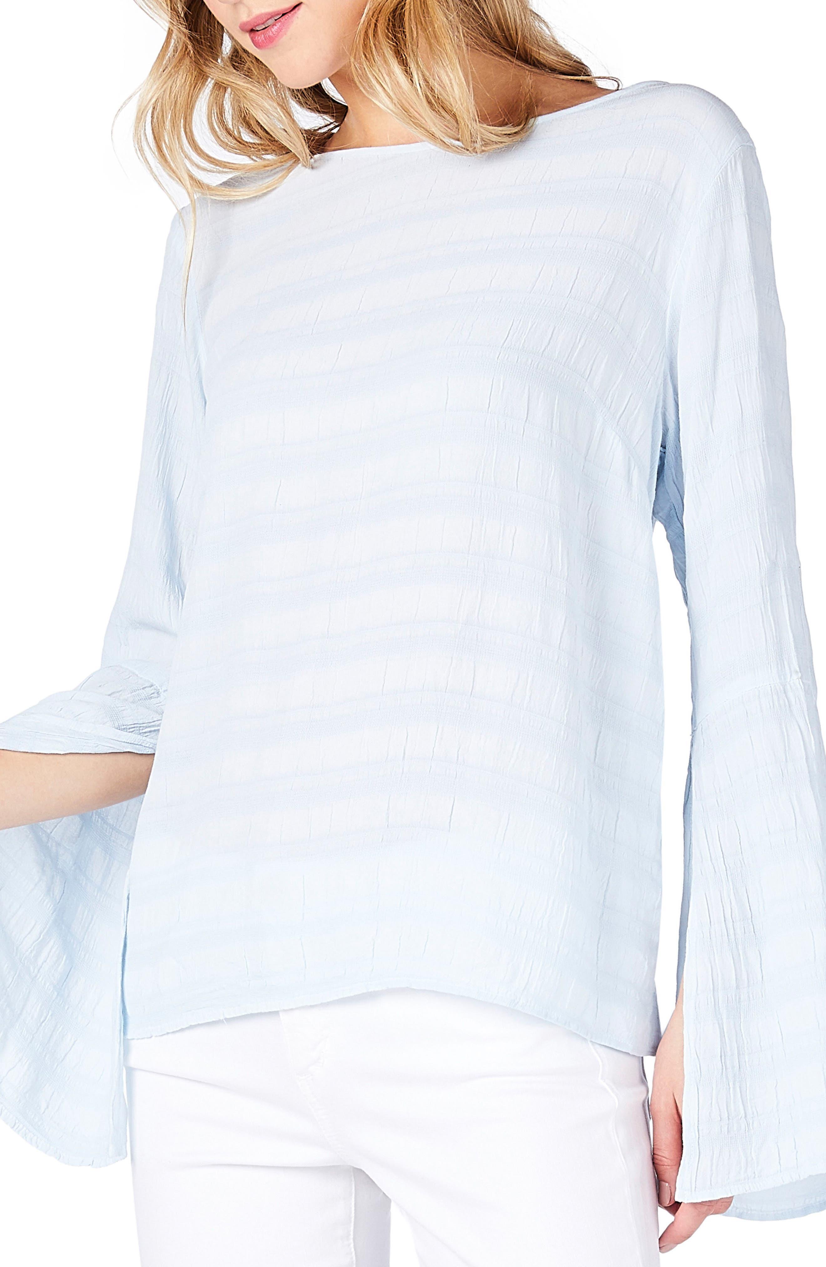 Slit Bell Sleeve Top,                             Alternate thumbnail 2, color,                             Sea Glass