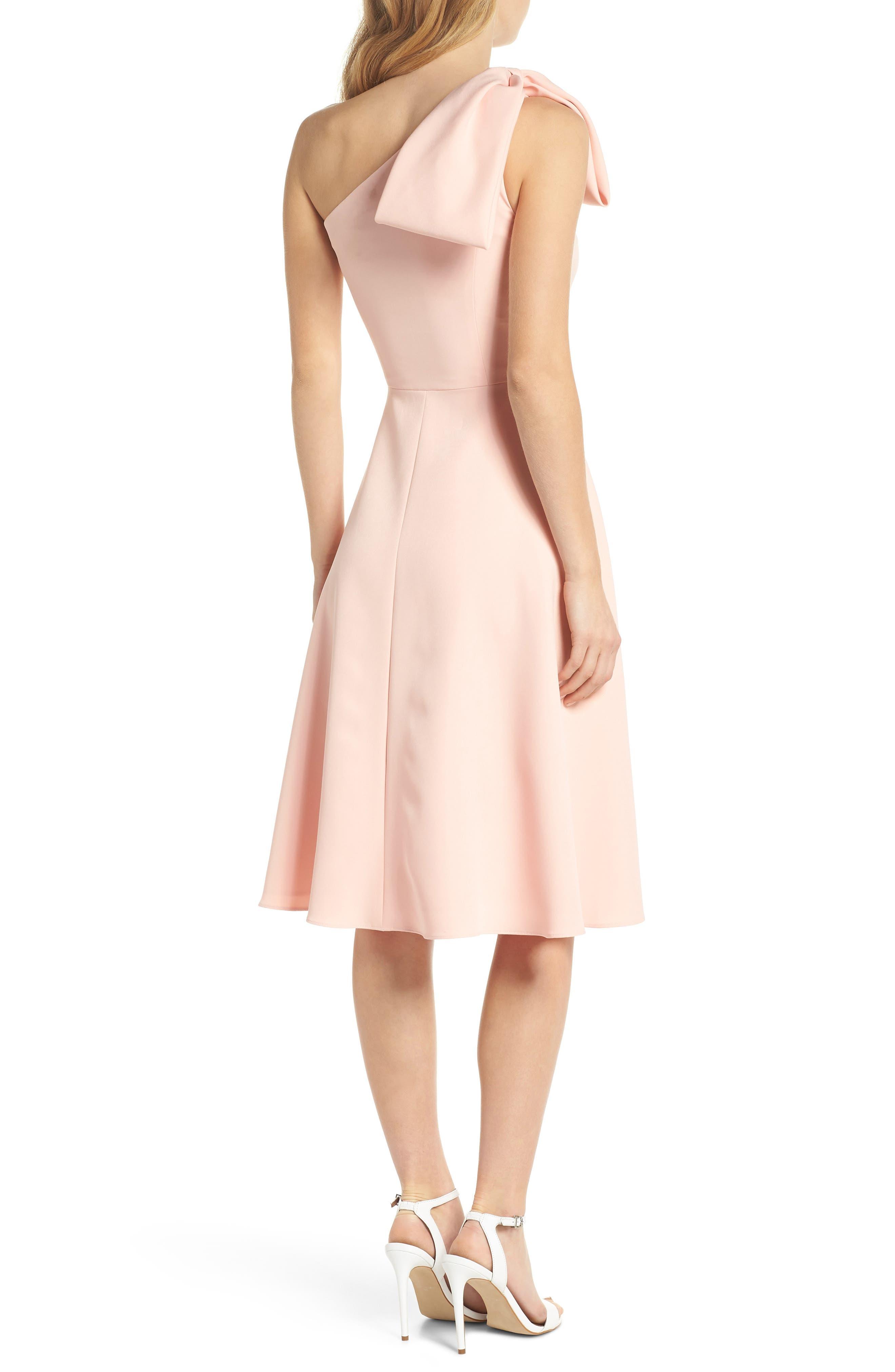 Yvonne Dream Crepe One-Shoulder Dress,                             Alternate thumbnail 3, color,                             Rose Quartz