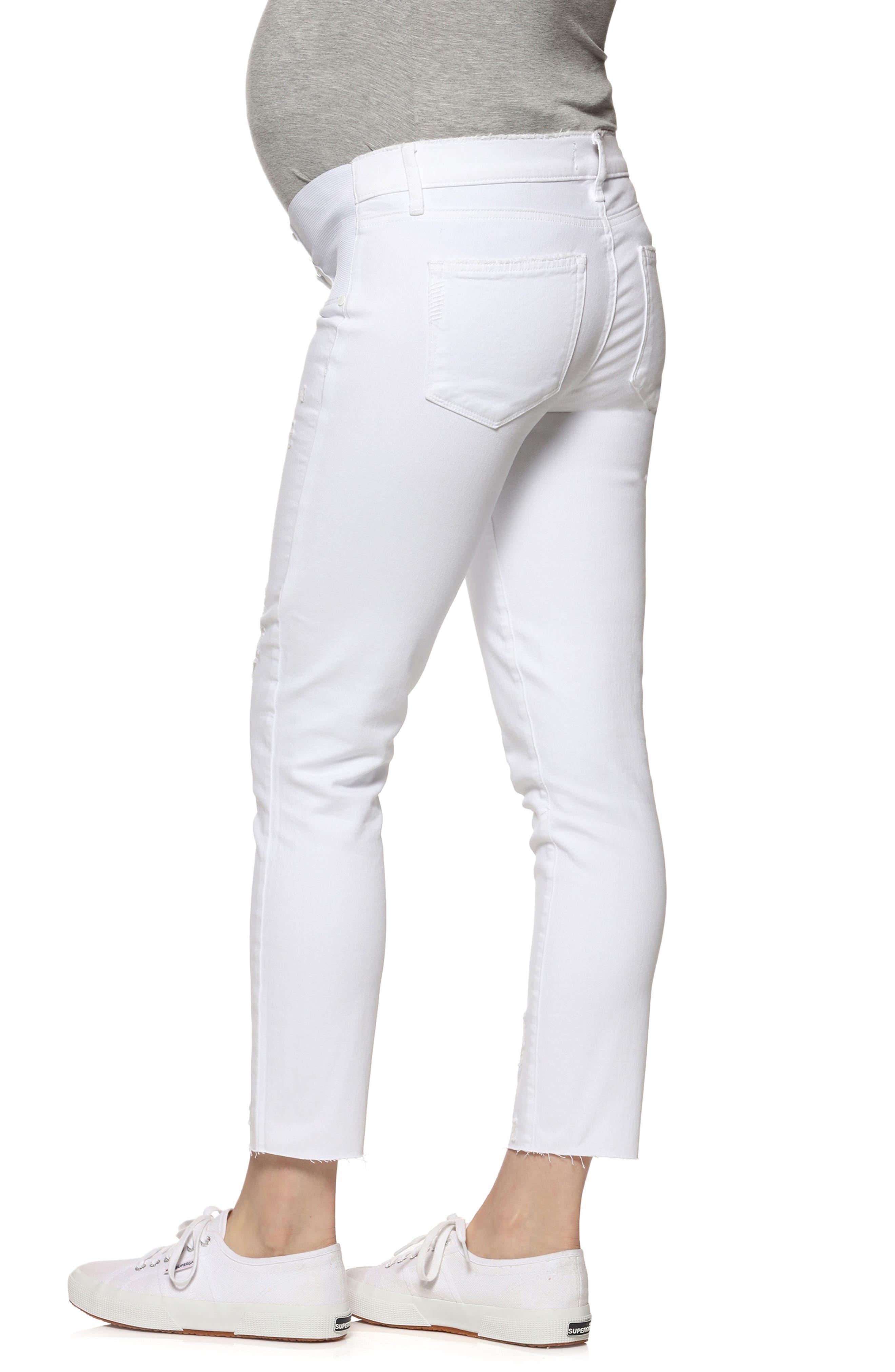 Verdugo Raw Hem Crop Skinny Maternity Jeans,                             Alternate thumbnail 2, color,                             Whiteout Destructed