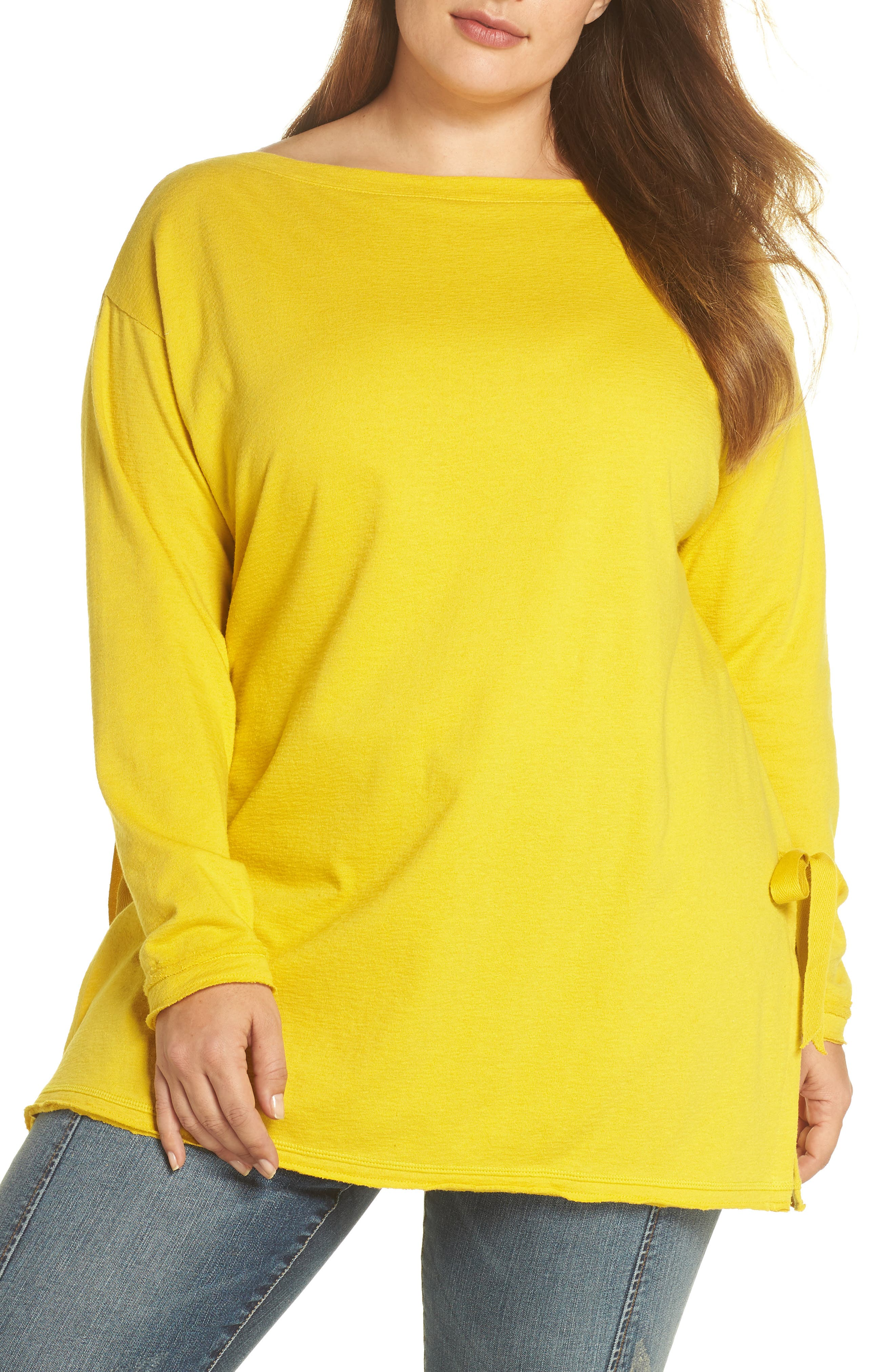 Side Tie Cotton Tunic Top,                         Main,                         color, Yellow Tea