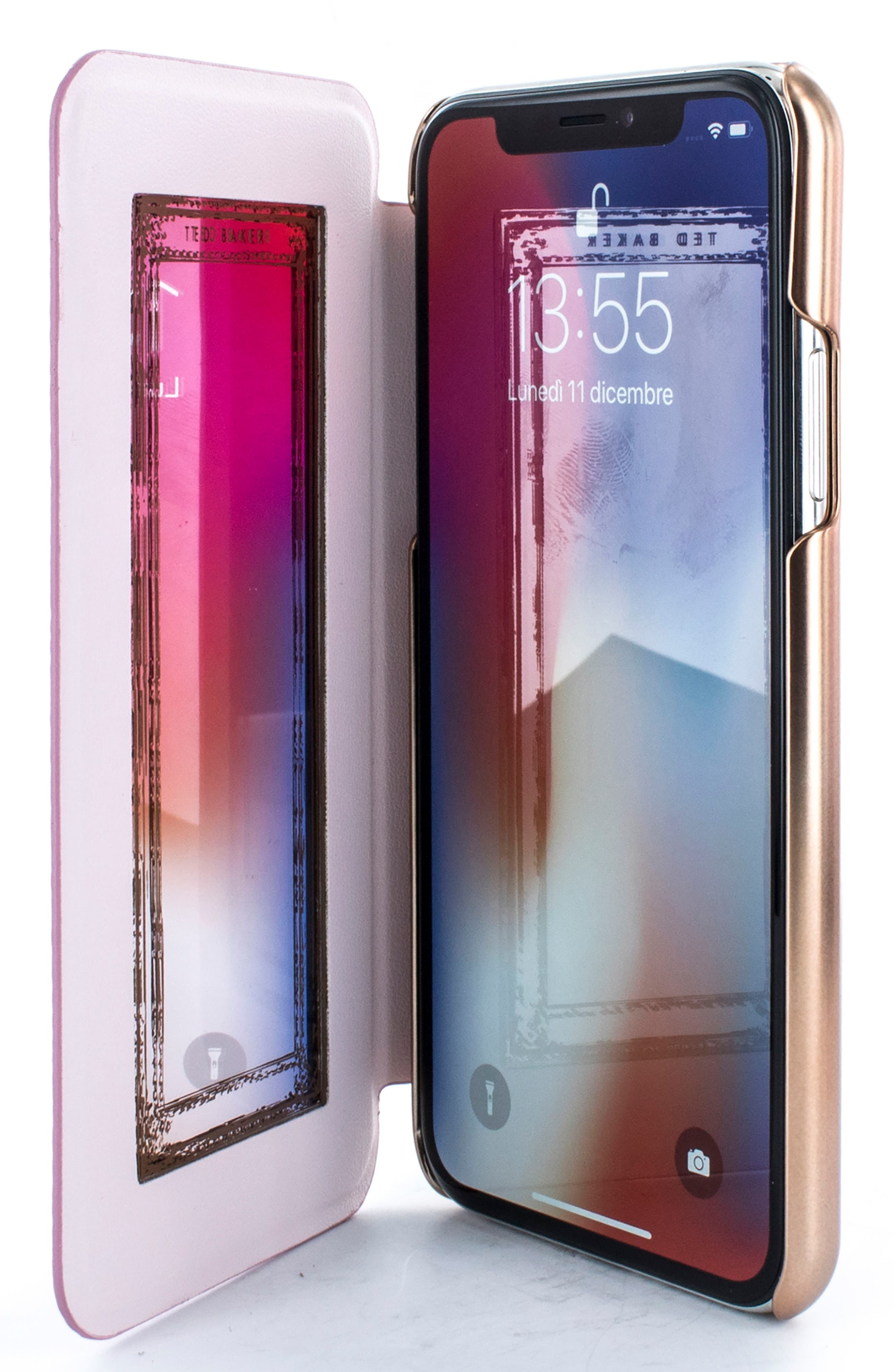 Fenela Faux Leather iPhone X Mirror Folio Case,                             Alternate thumbnail 3, color,                             Rose Gold