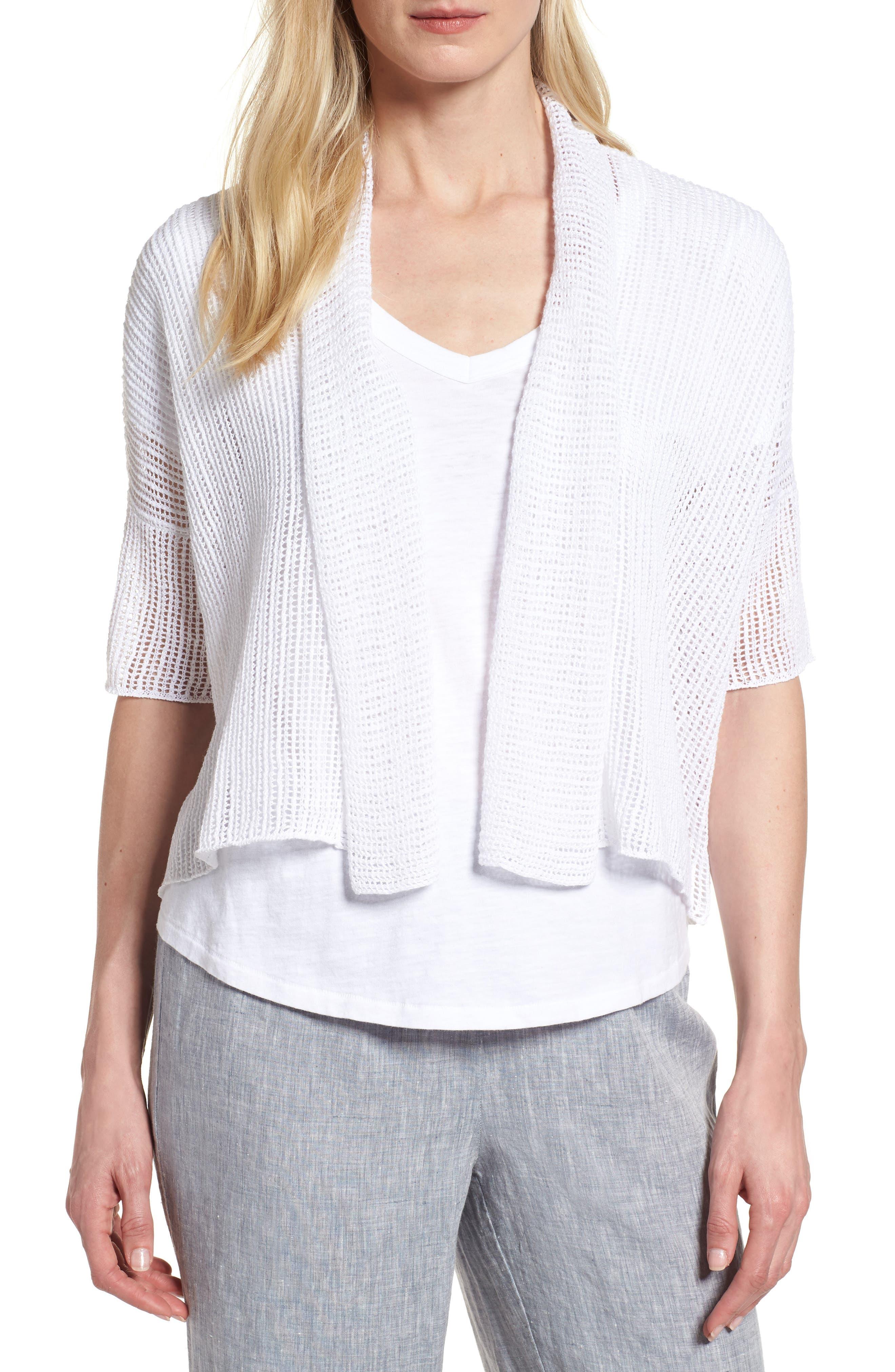 Eileen Fisher Boxy Organic Linen Cardigan (Regular & Petite)
