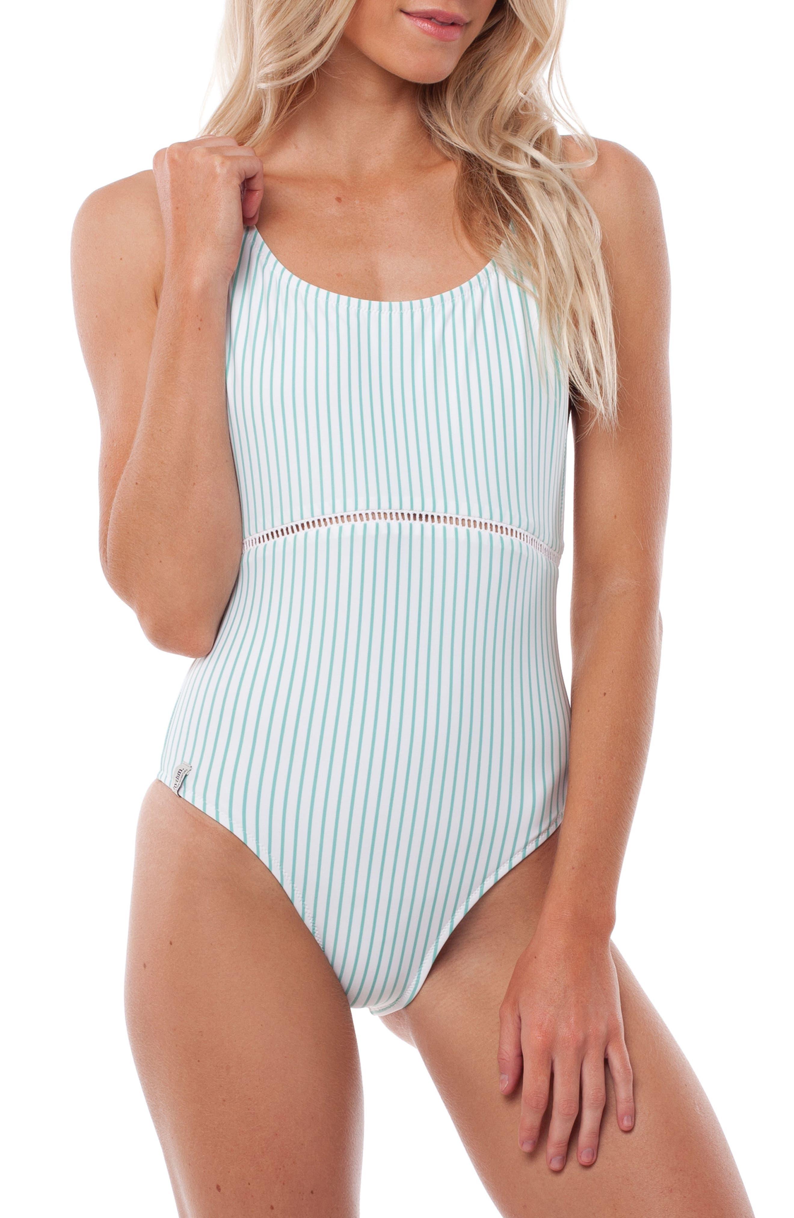 Summer Stripe One-Piece Swimsuit,                             Main thumbnail 1, color,                             Aruba