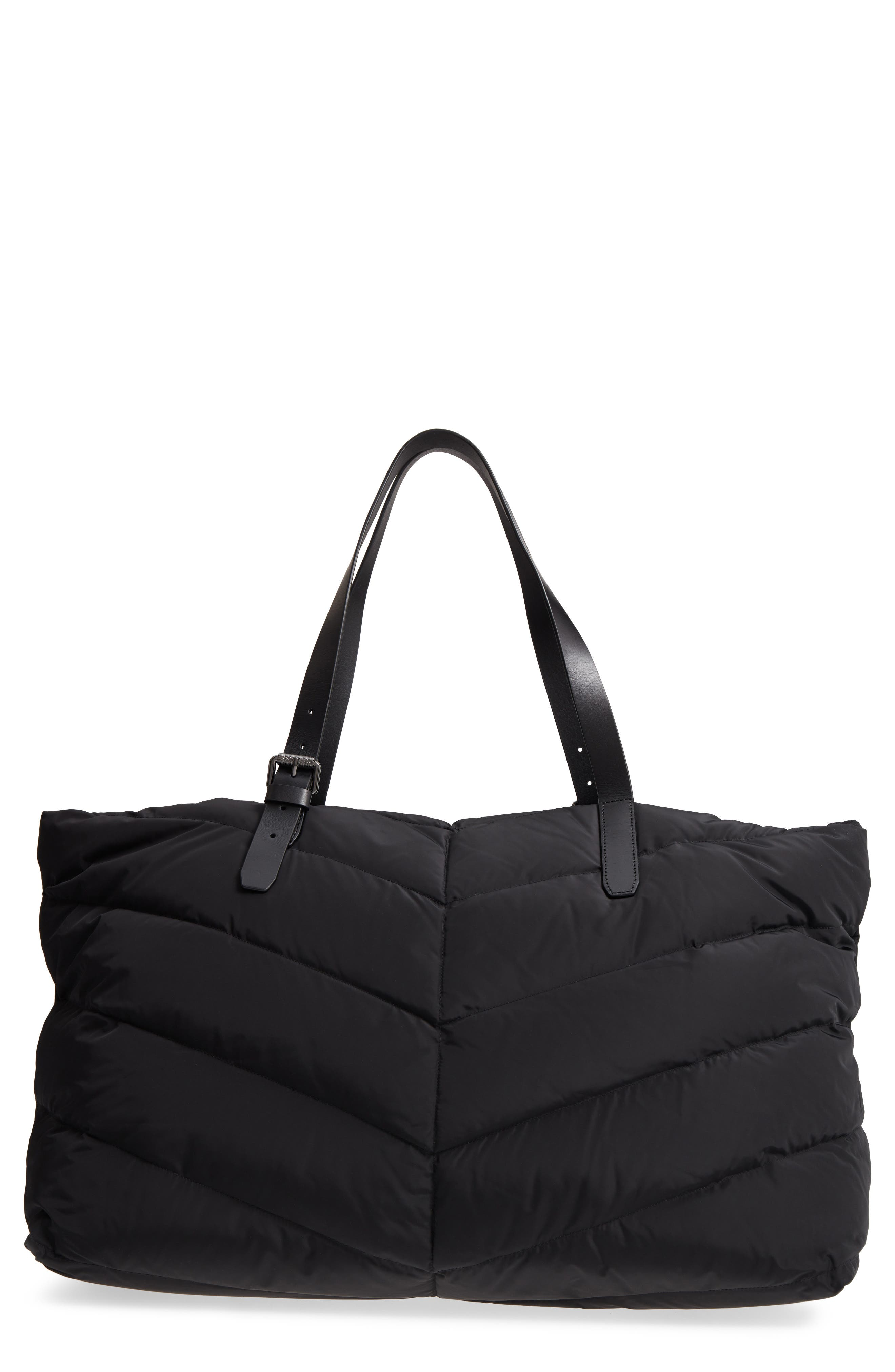 Emilee Quilted Nylon Weekend Tote,                             Main thumbnail 1, color,                             Black/ Gunmetal