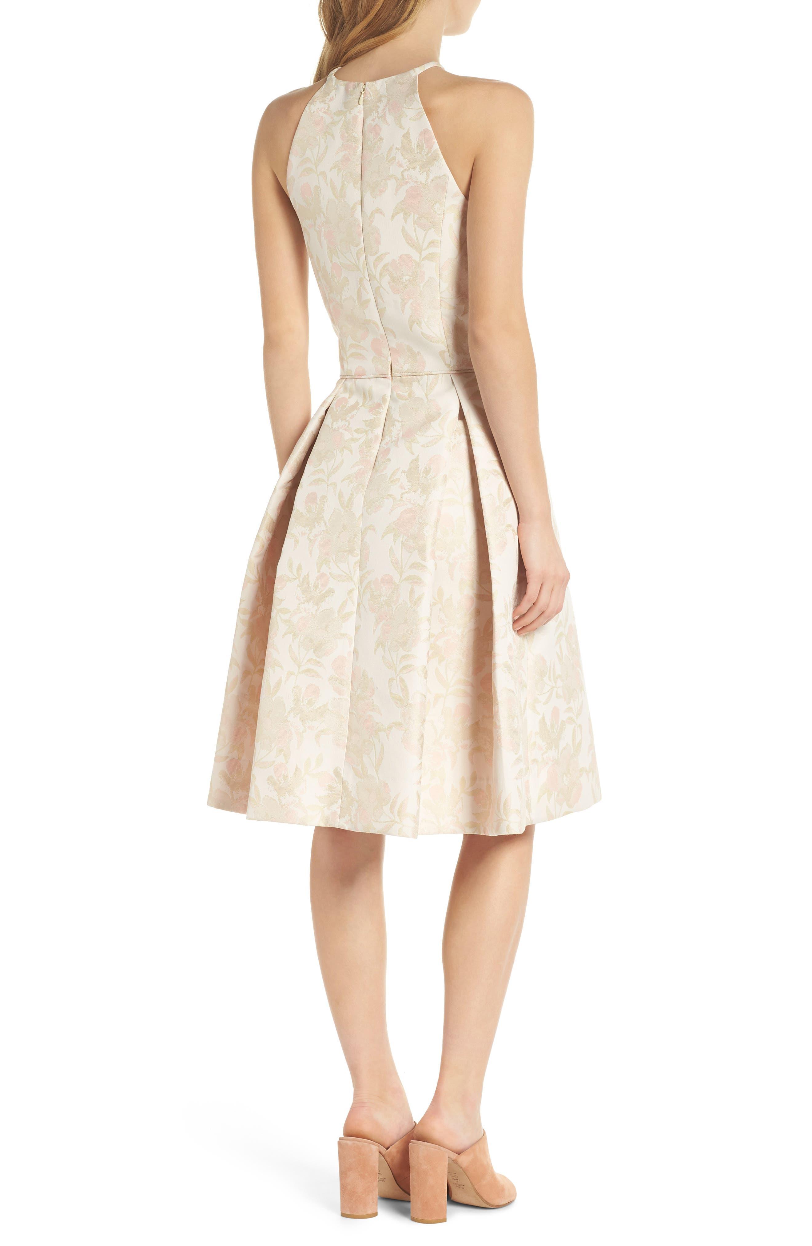 Evelyn Sea Holly Jacquard Halter Dress,                             Alternate thumbnail 3, color,                             Blush Combo