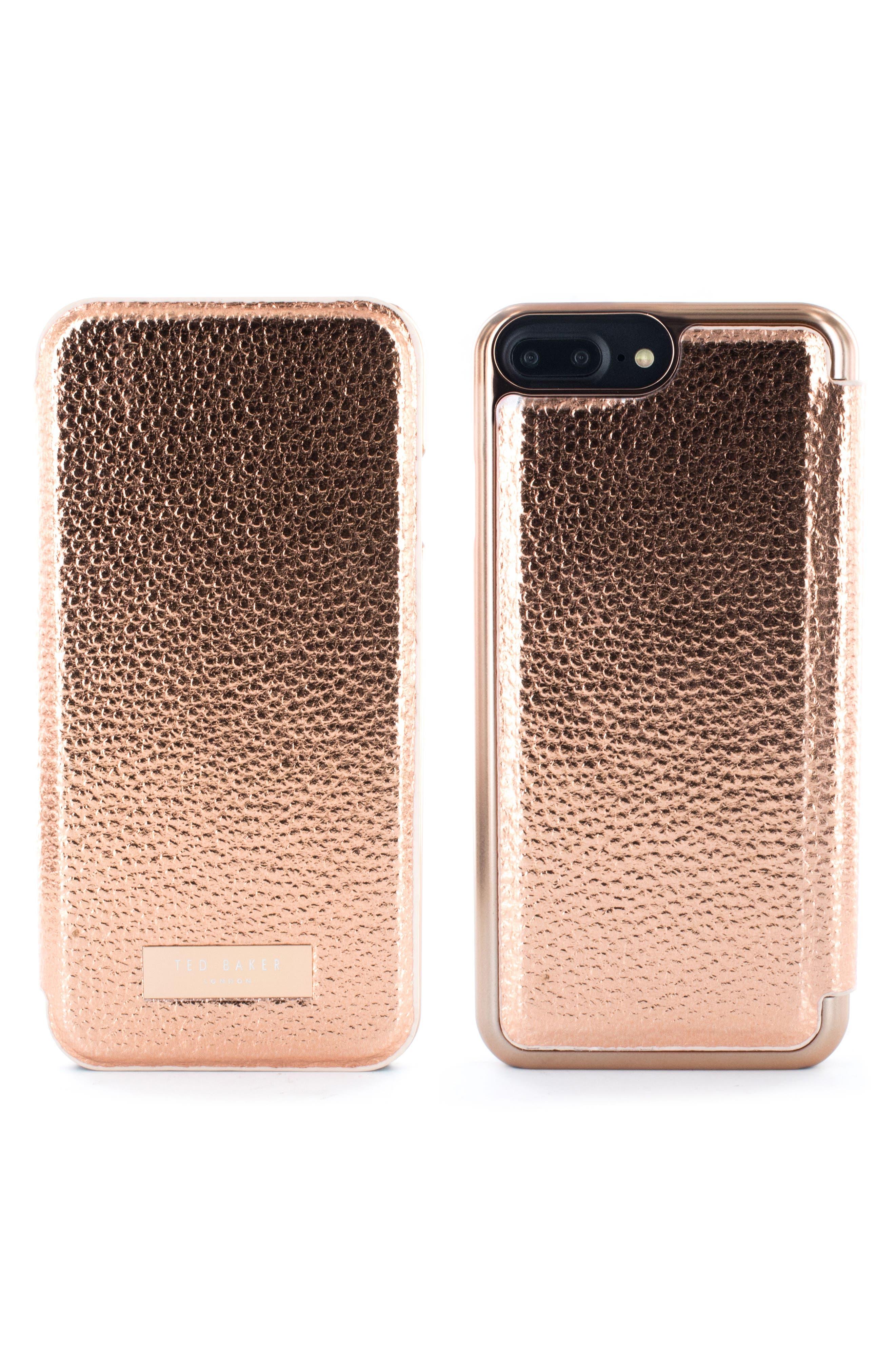 Faux Leather iPhone 6/6s/7/8 & 6/6s/7/8 Plus Mirror Folio Case,                         Main,                         color, Rose Gold