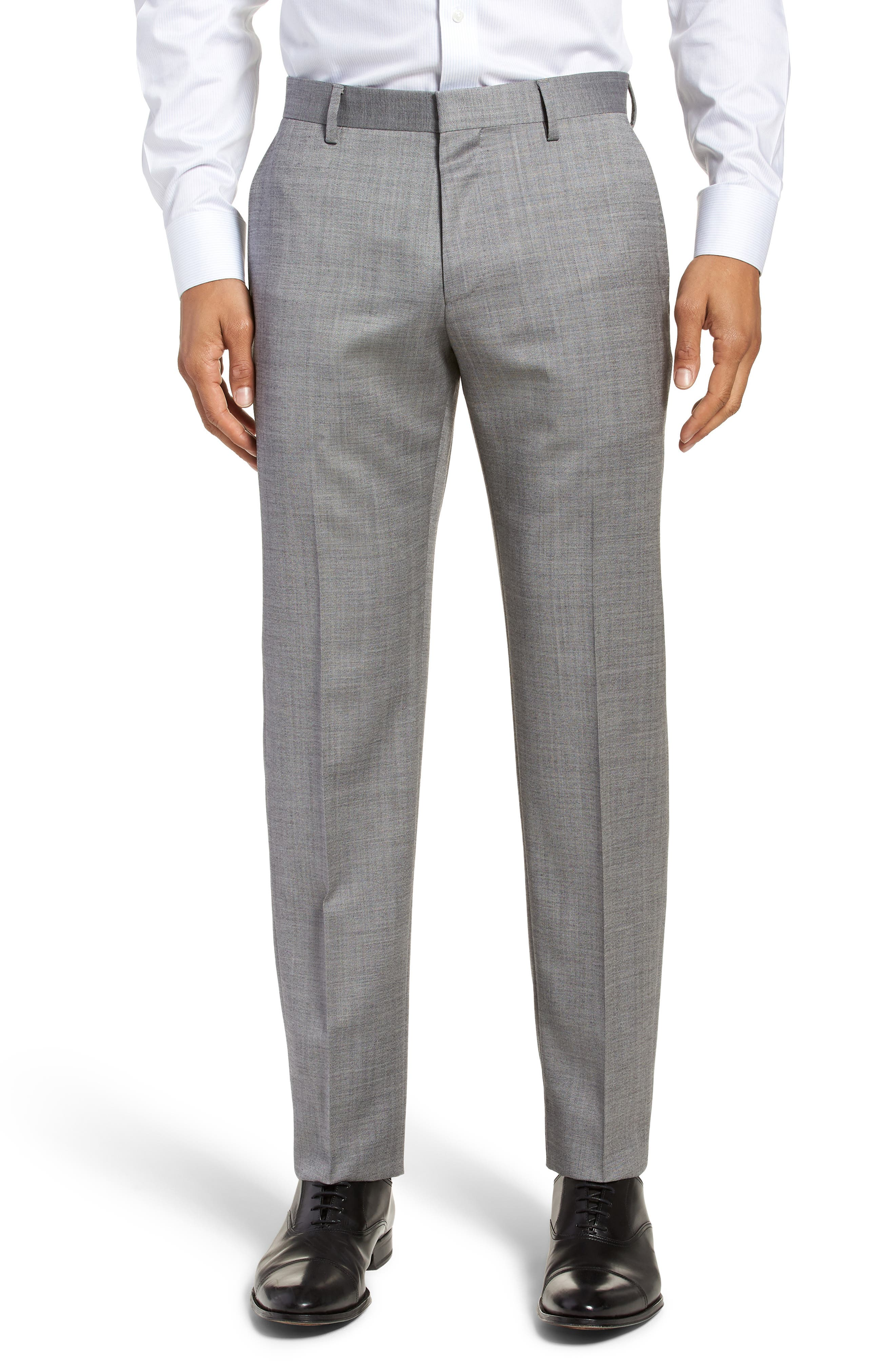 Hutsons/Gander Trim Fit Solid Wool & Silk Suit,                             Alternate thumbnail 6, color,                             Light Grey
