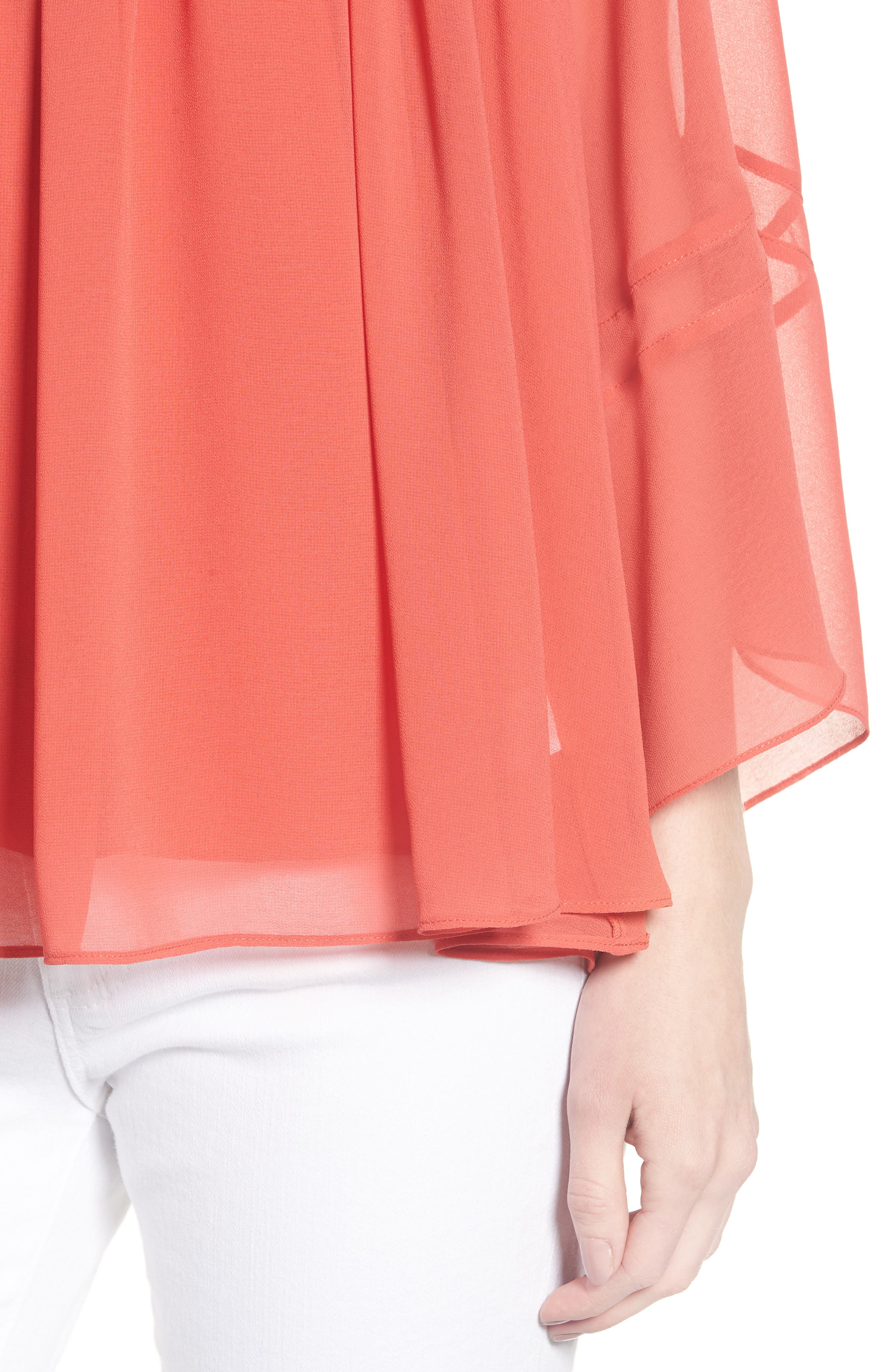 Flowy Chiffon Top,                             Alternate thumbnail 4, color,                             Red Cranberry