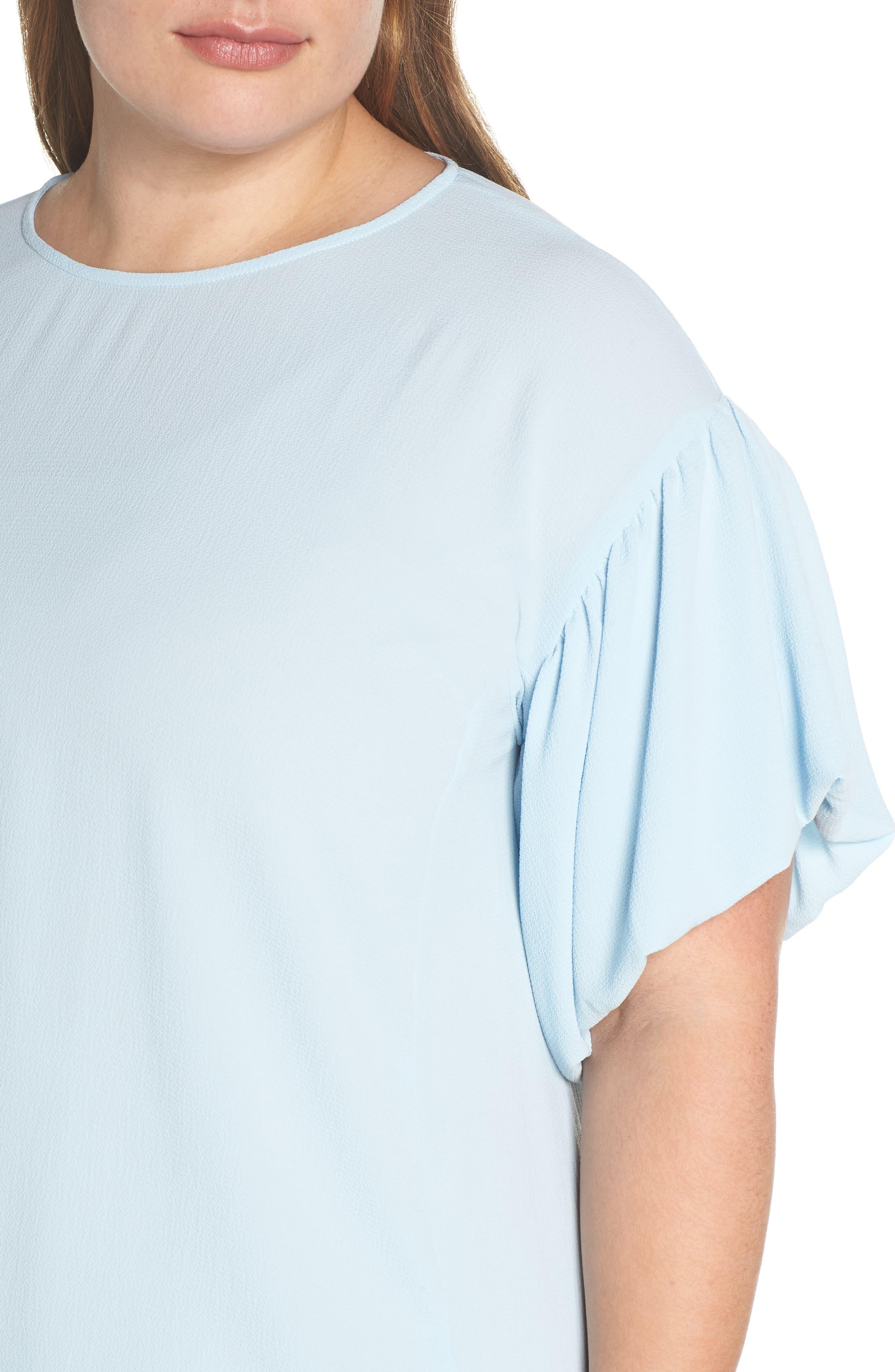 Bubble Sleeve Blouse,                             Alternate thumbnail 4, color,                             Dew Blue