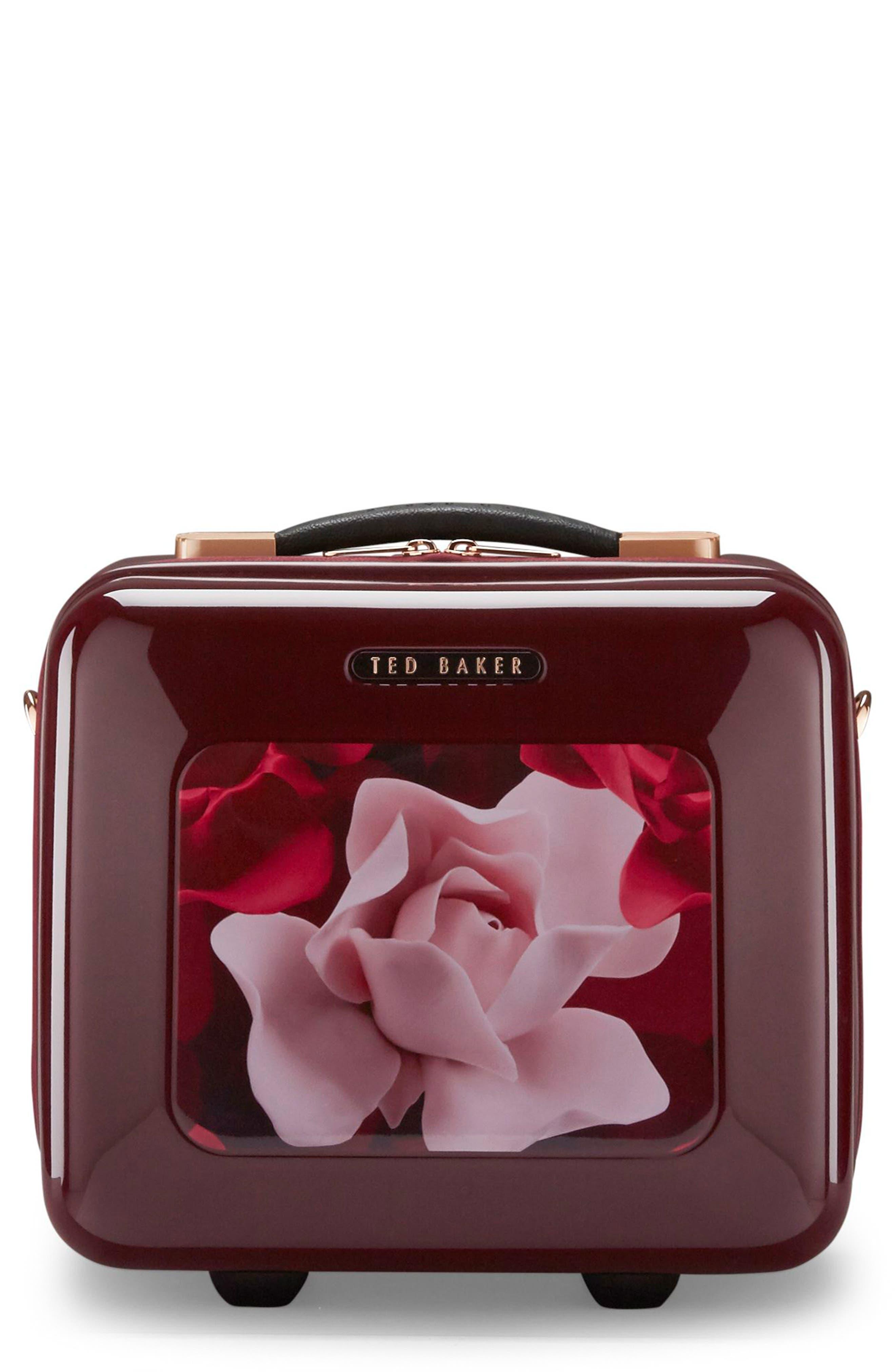 Porcelain Rose Vanity Case,                             Main thumbnail 1, color,                             Burgundy