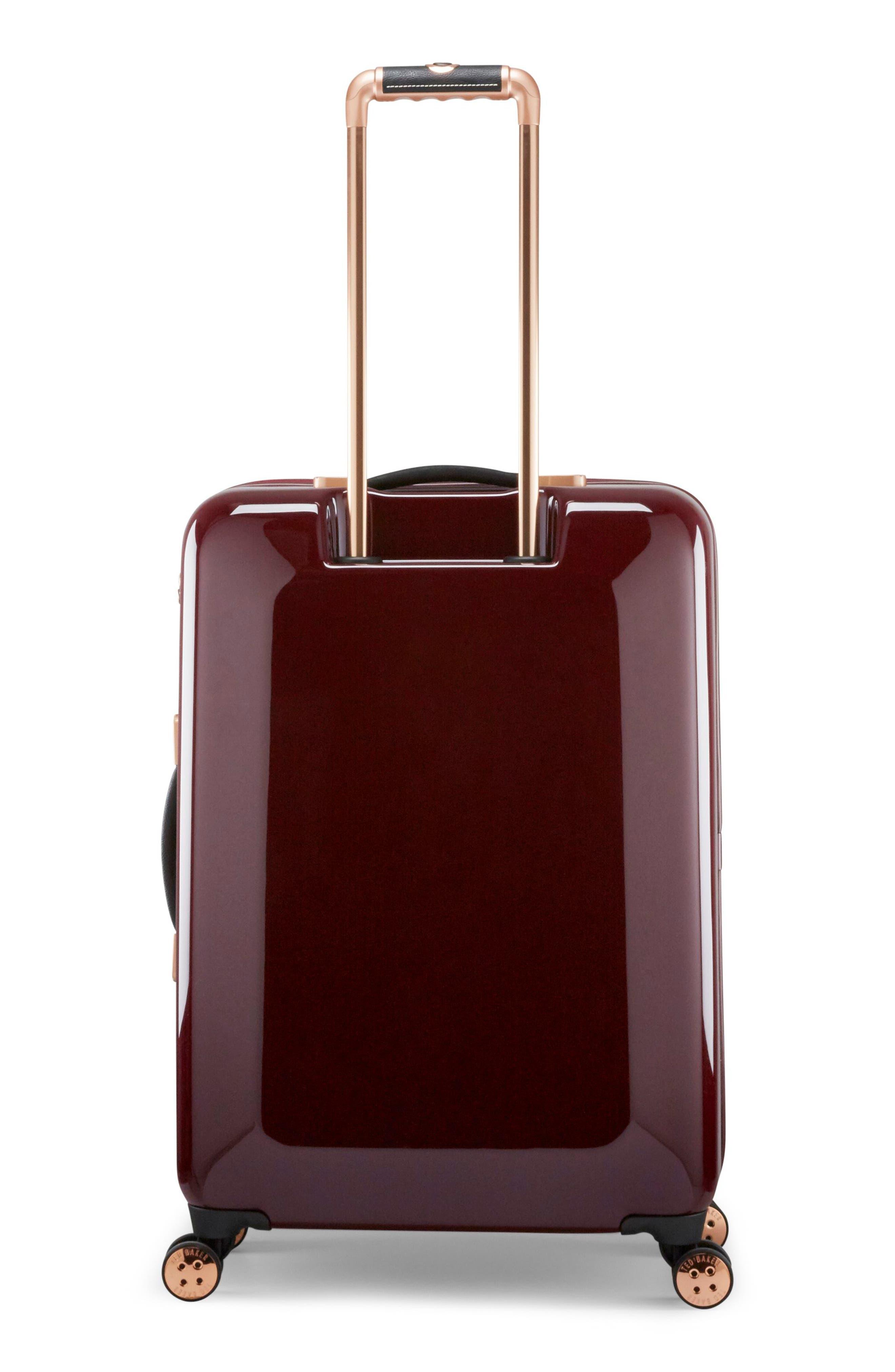 Medium Porcelain Rose 27-Inch Hard Shell Spinner Suitcase,                             Alternate thumbnail 4, color,                             Burgundy