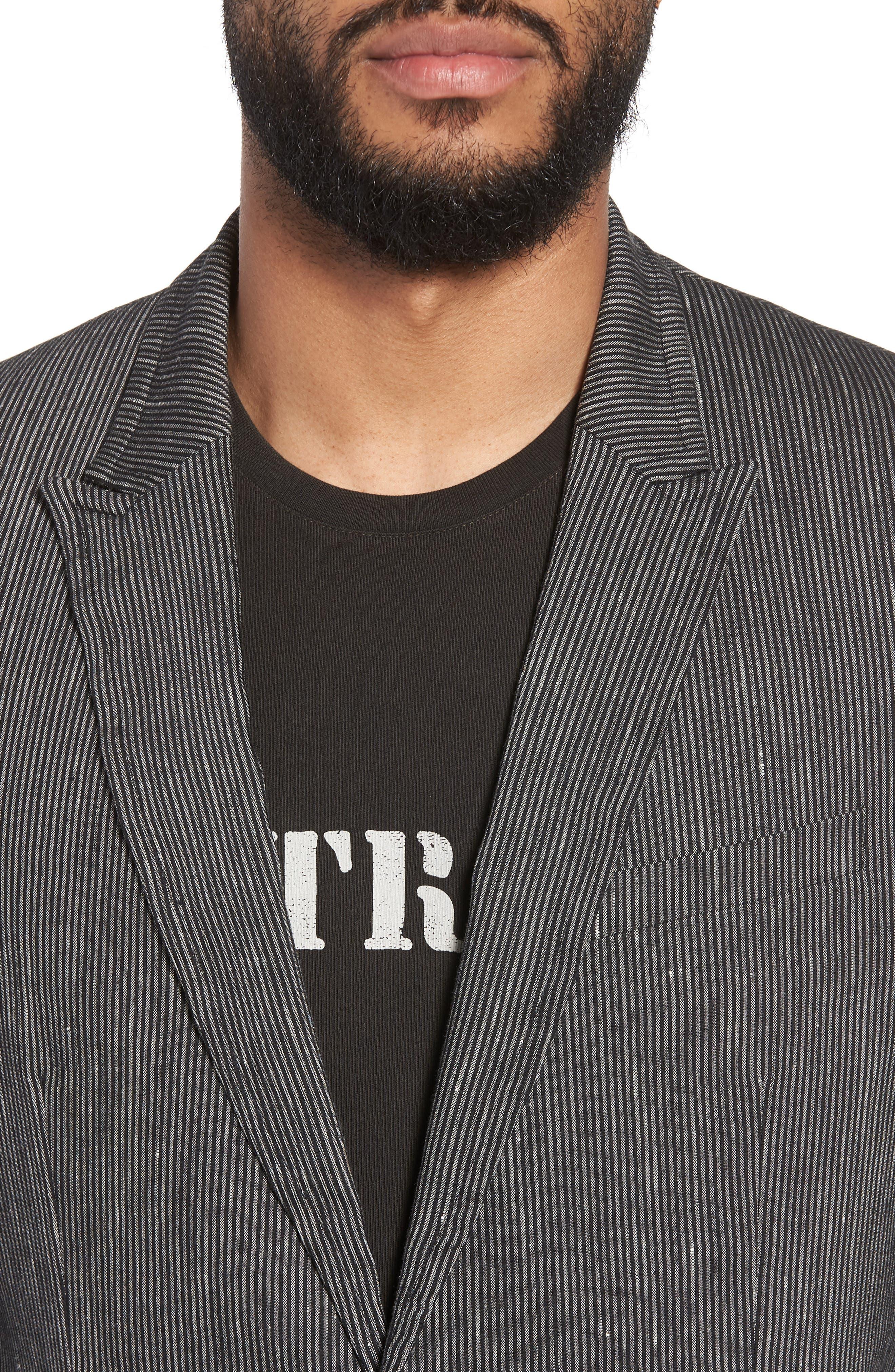 Regular Fit Stretch Stripe Linen Blend Sport Coat,                             Alternate thumbnail 4, color,                             Black/White