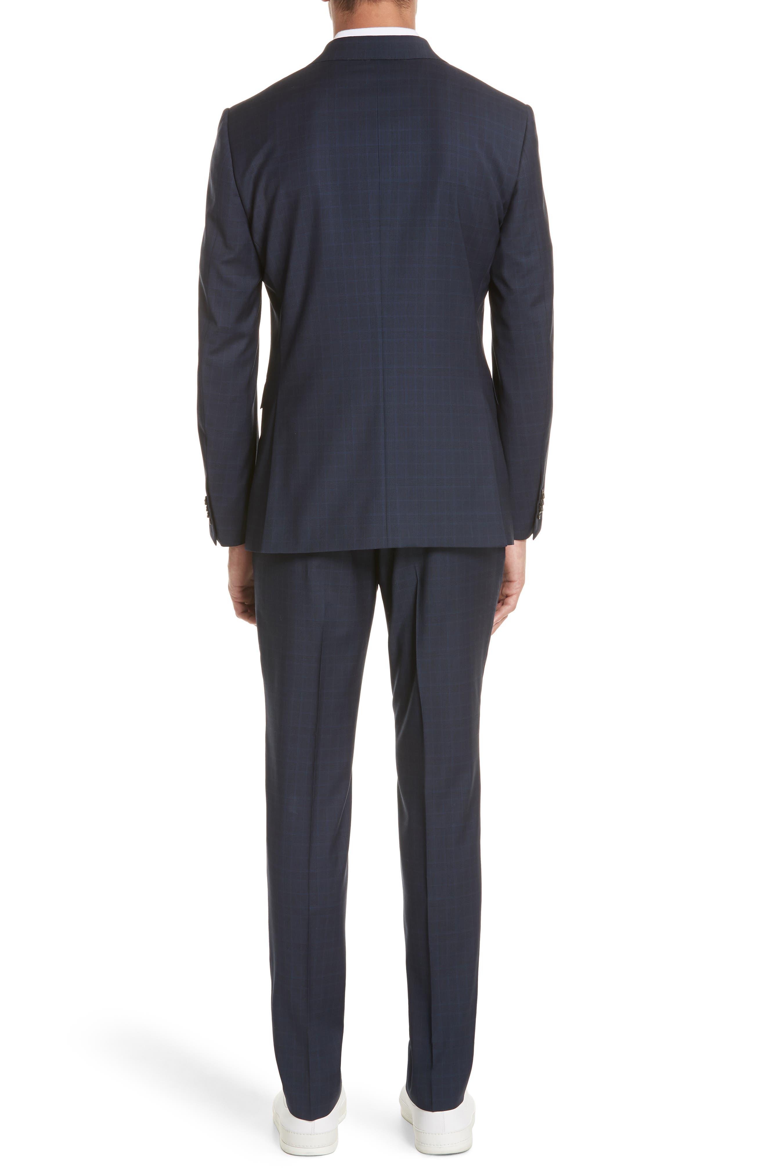 Trim Fit Plaid Wool Suit,                             Alternate thumbnail 2, color,                             Navy Check