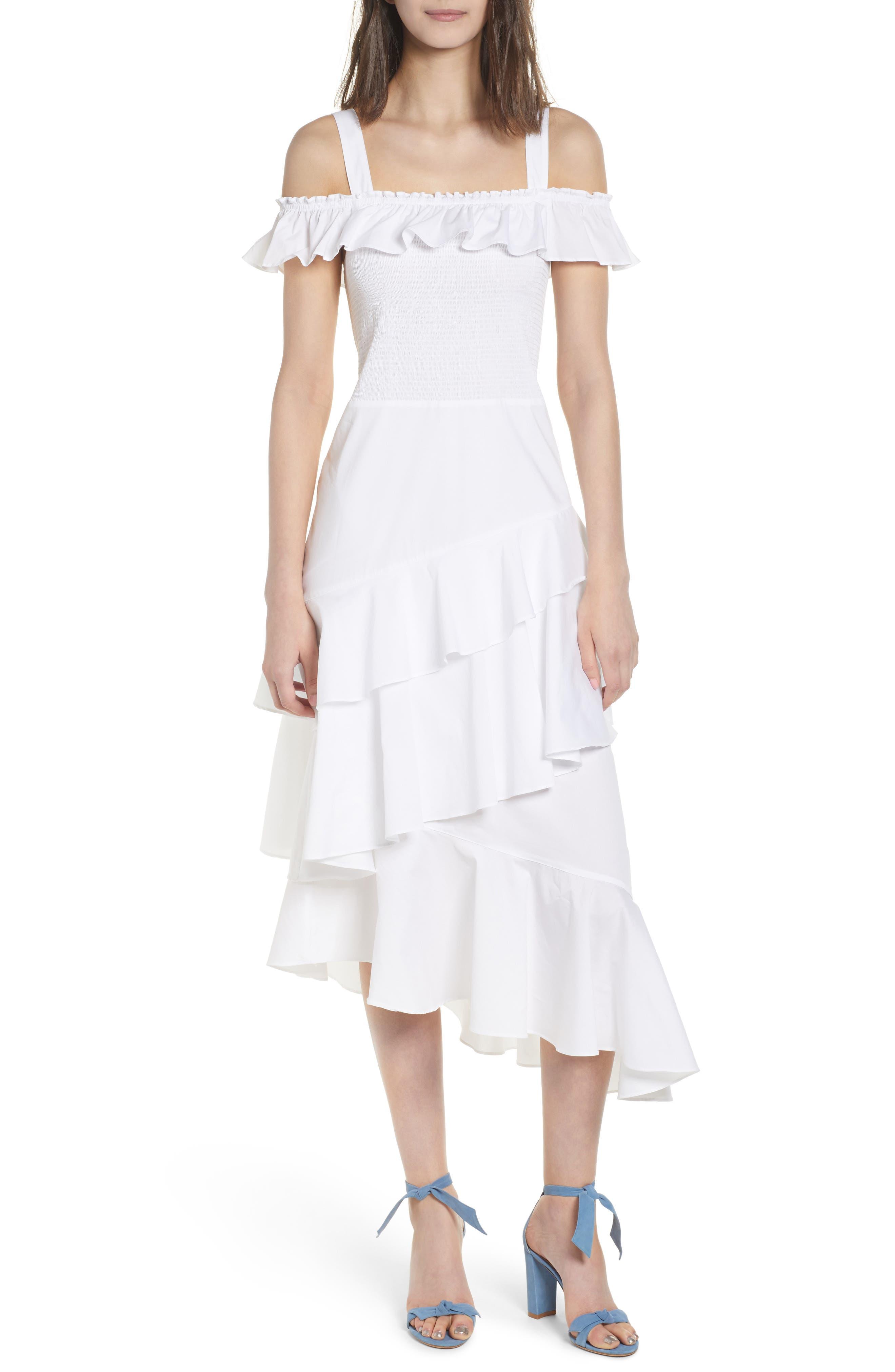 Ruffle Smocked Cold Shoulder Dress,                             Main thumbnail 1, color,                             White