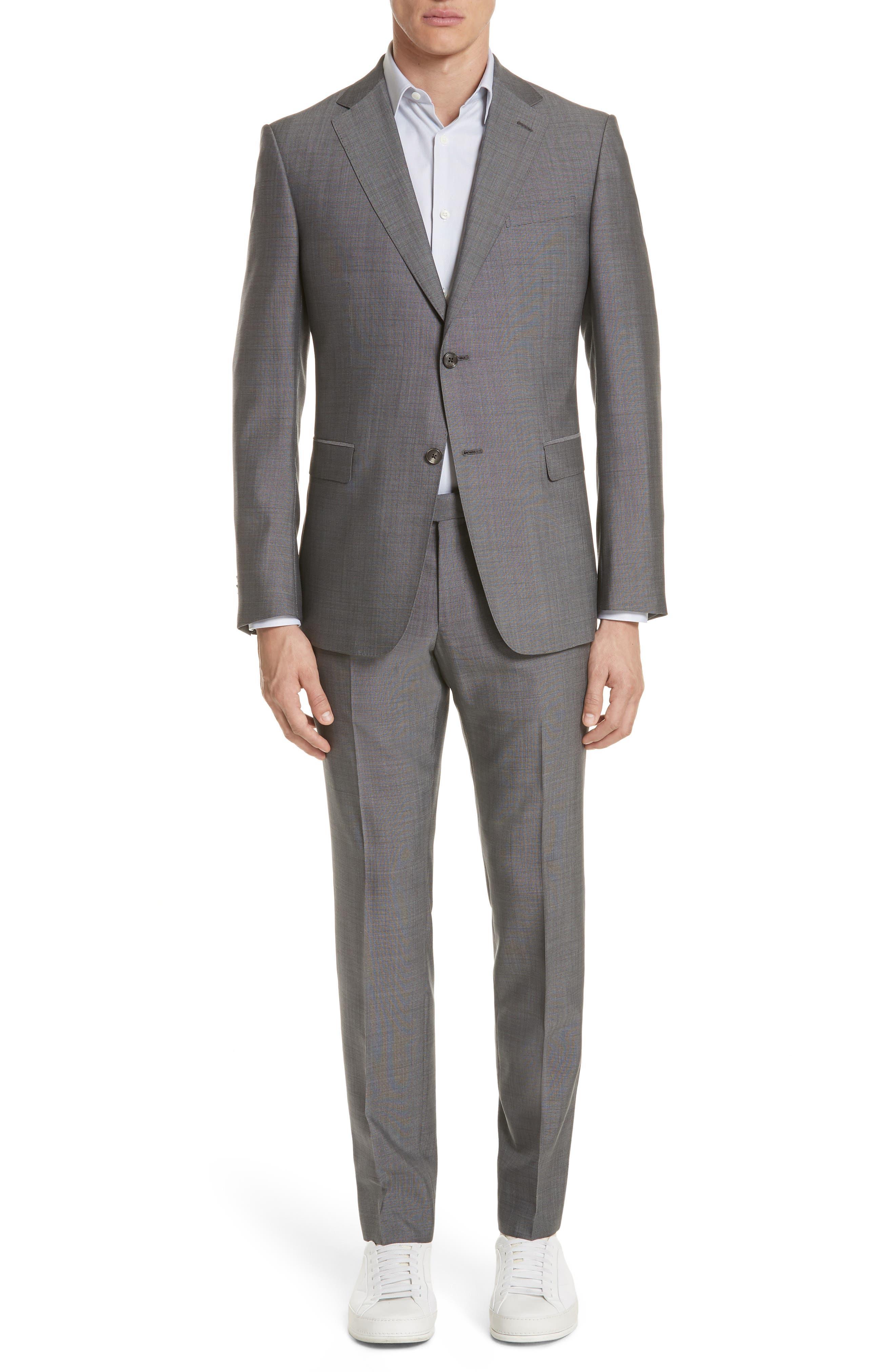 Trim Fit Solid Wool & Silk Suit,                         Main,                         color, Grey