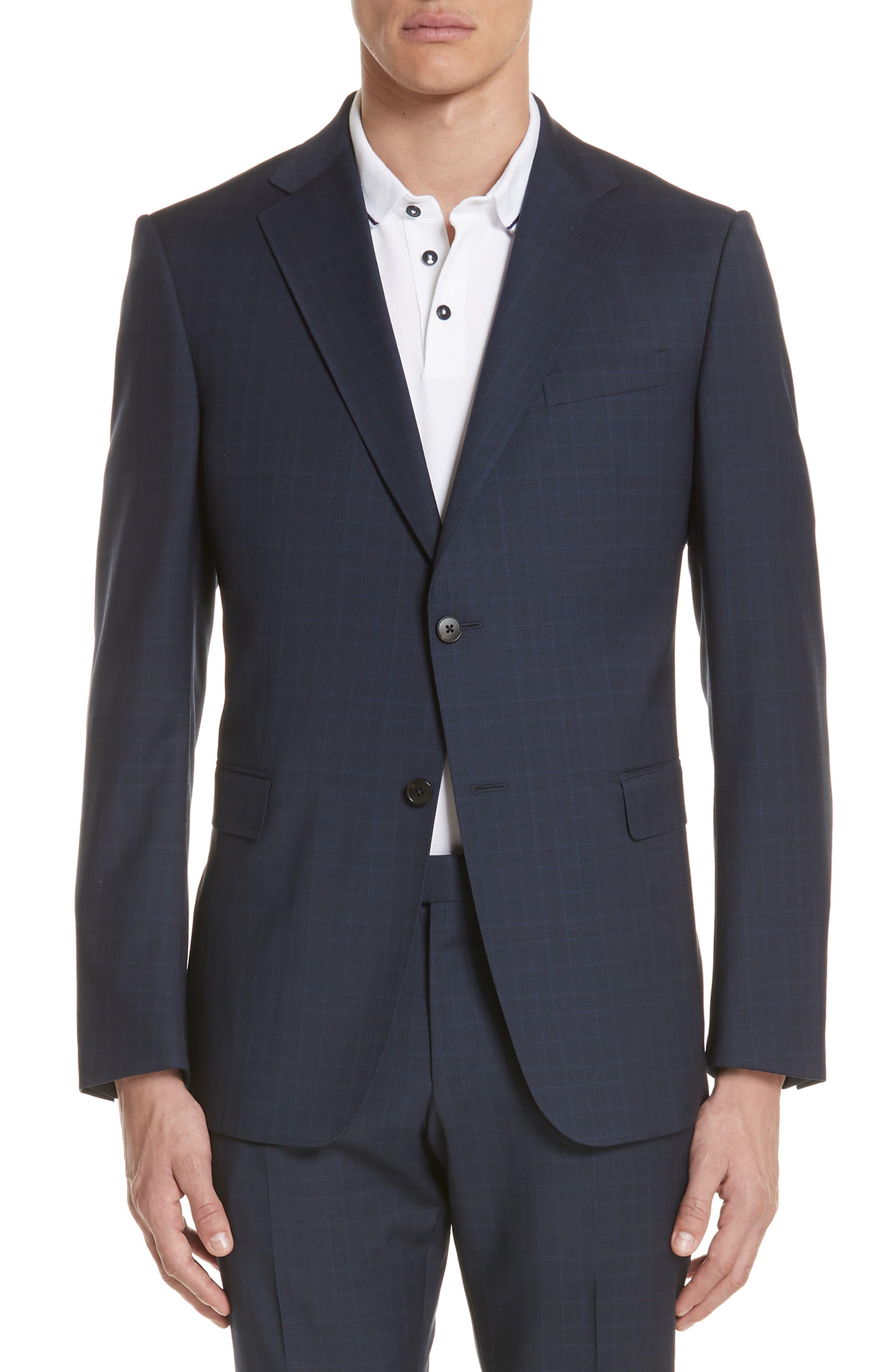 Trim Fit Plaid Wool Suit,                             Alternate thumbnail 5, color,                             Navy Check