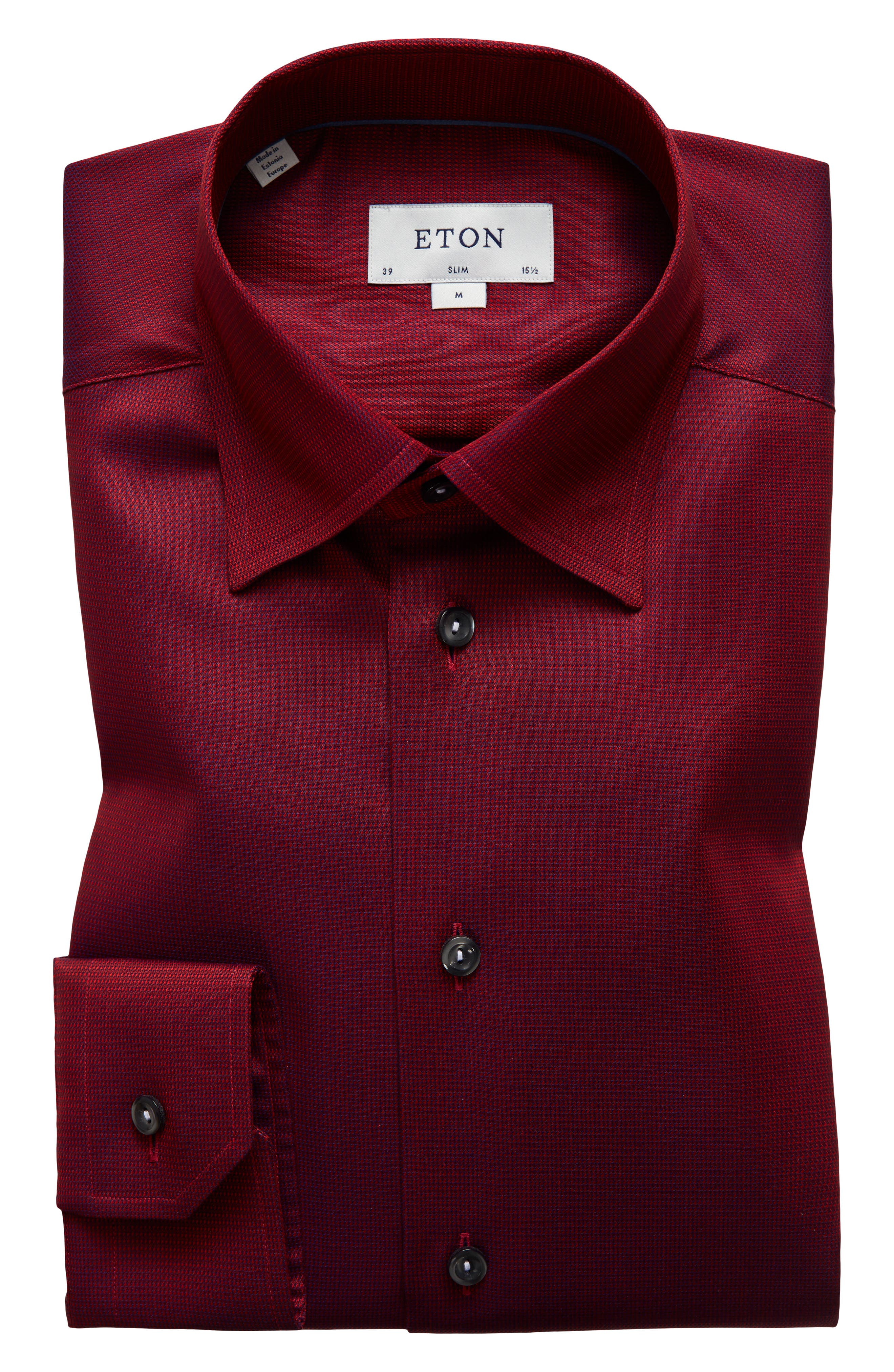 Slim Fit Solid Dress Shirt,                         Main,                         color, Red