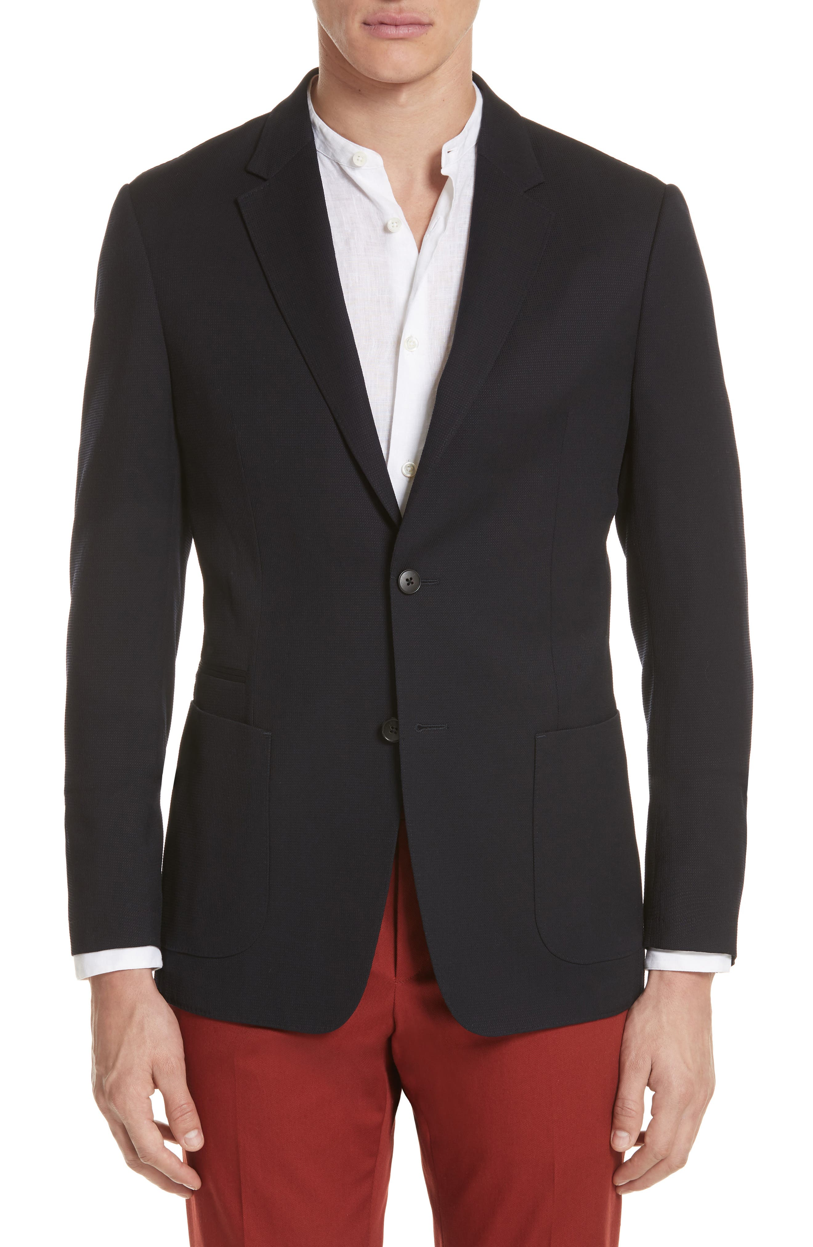 TECHMERINO<sup>™</sup> Wash & Go Classic Fit Wool Blazer,                             Main thumbnail 1, color,                             Navy Solid
