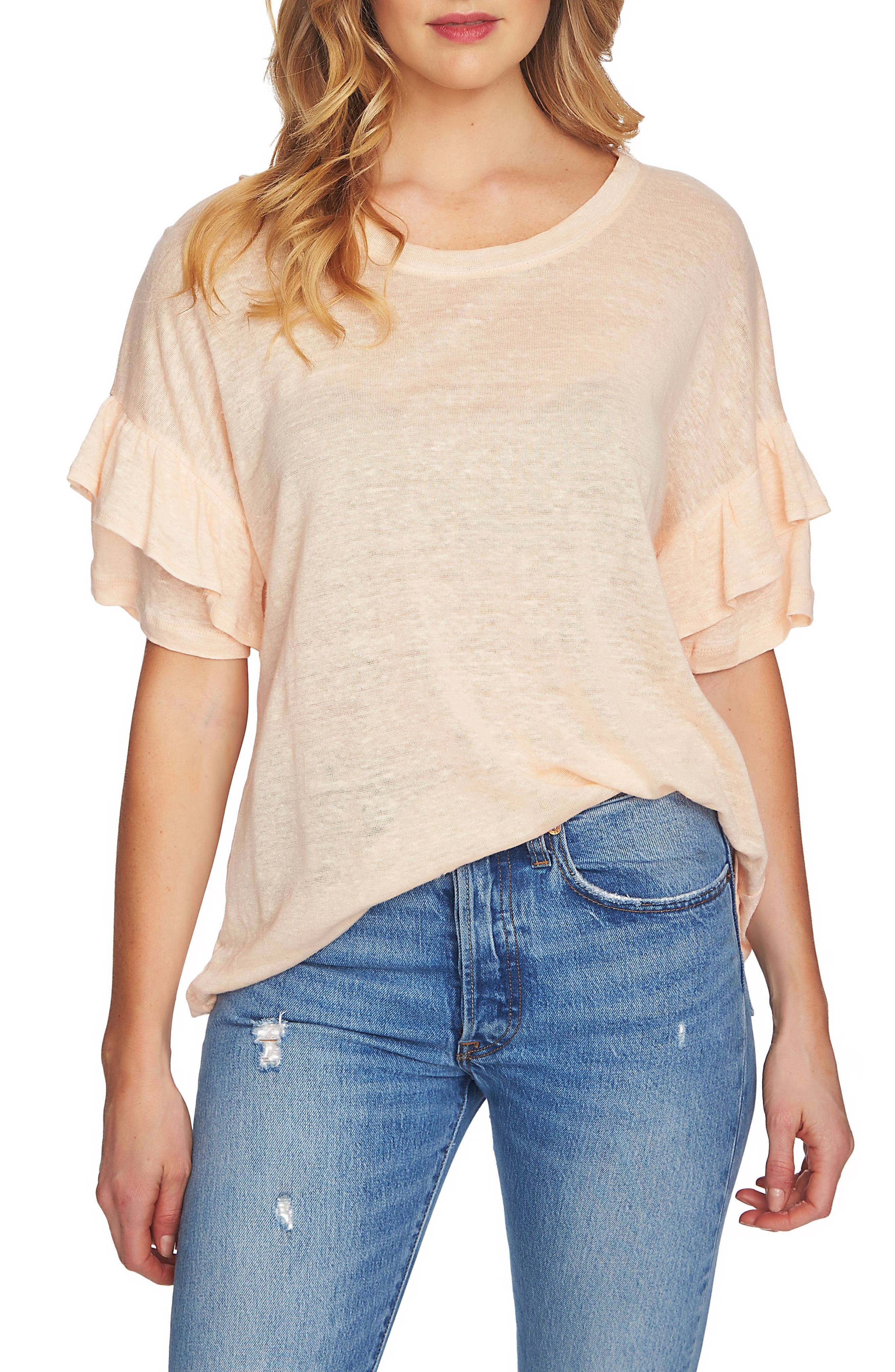 Alternate Image 1 Selected - 1.STATE Ruffle Linen Tee