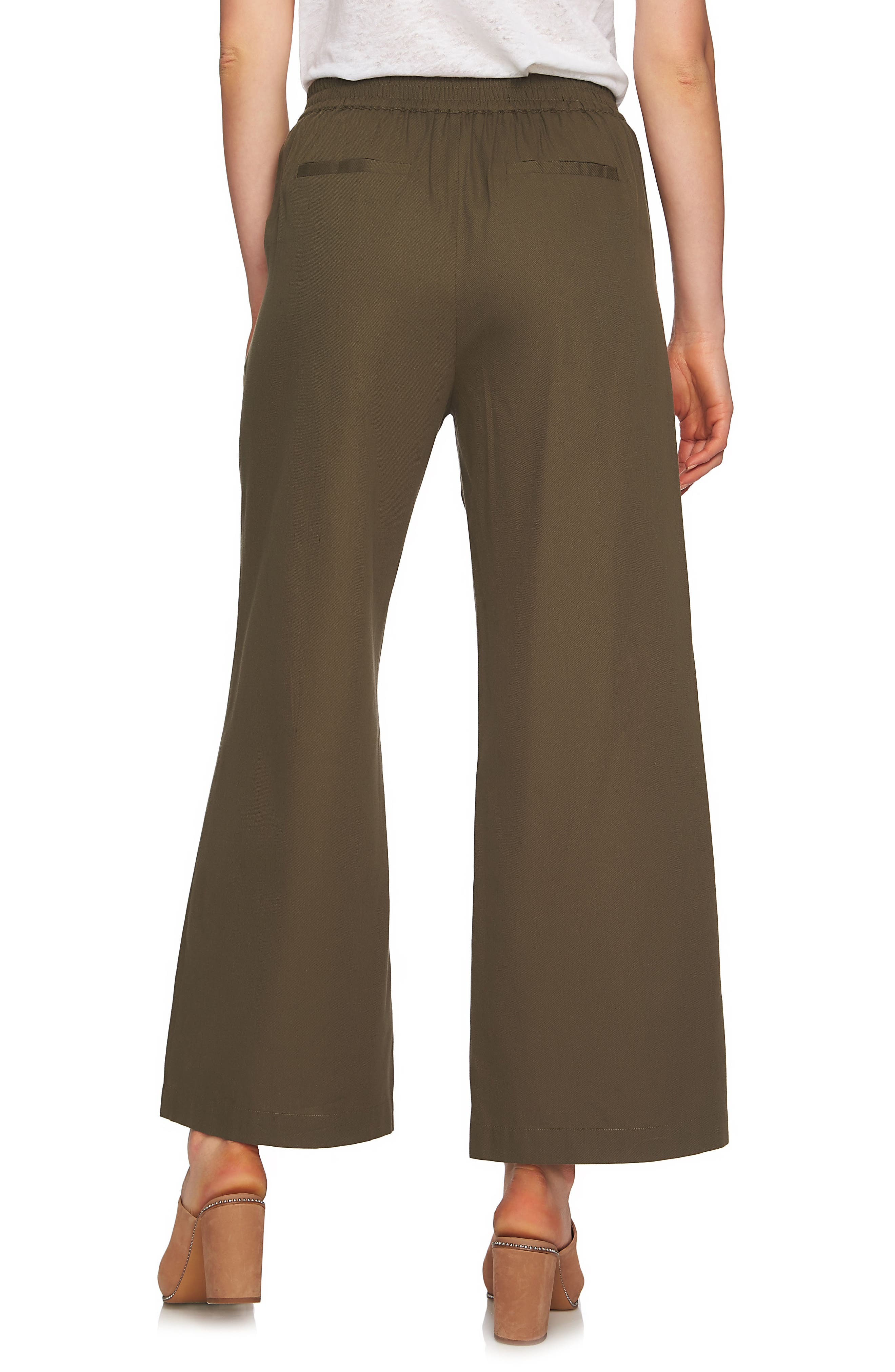 Lace-Up Detail Wide Leg Pants,                             Alternate thumbnail 2, color,                             Olive Tree