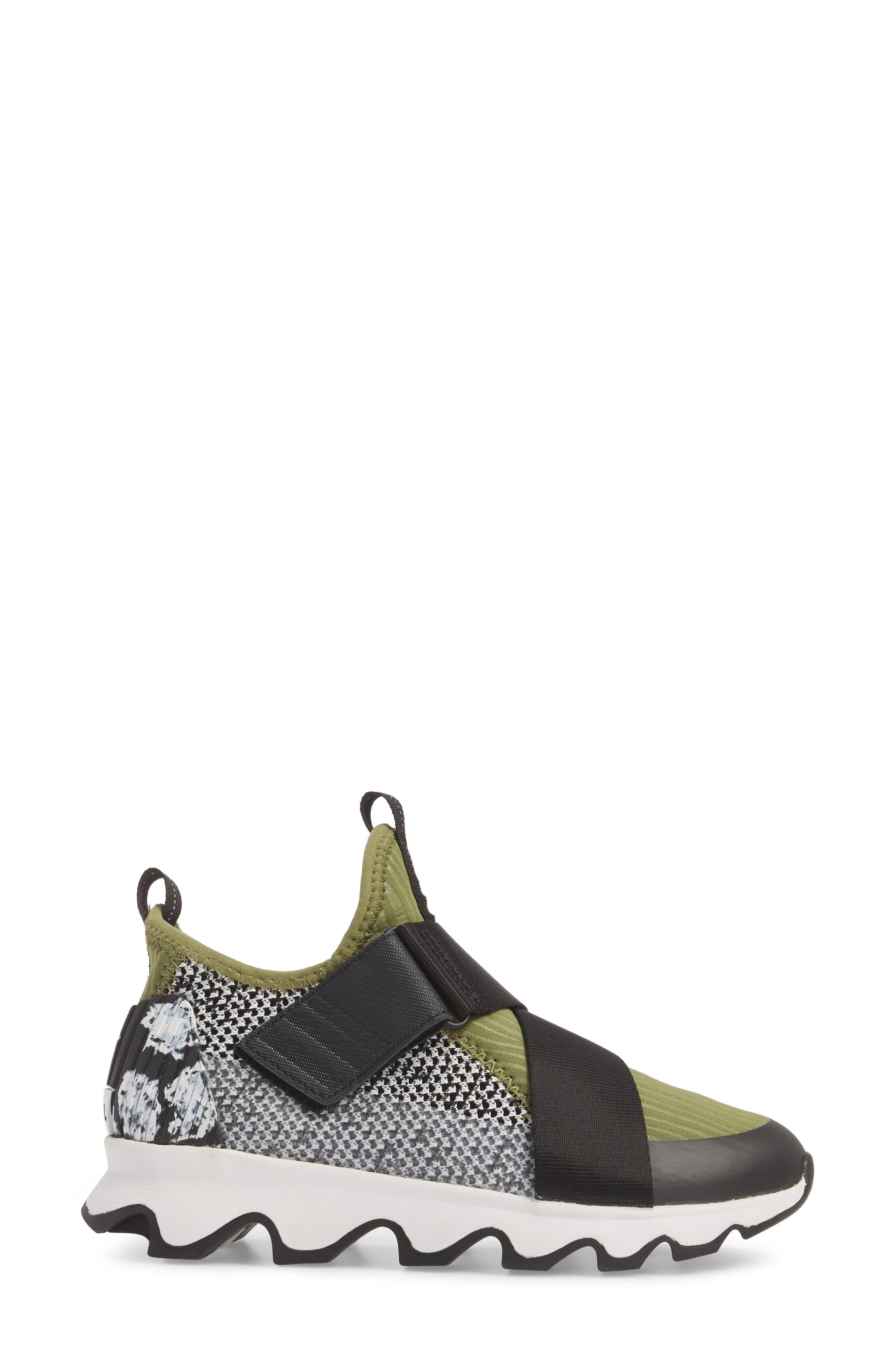 Kinetic Sneak High Top Sneaker,                             Alternate thumbnail 3, color,                             Olive Drab/ White