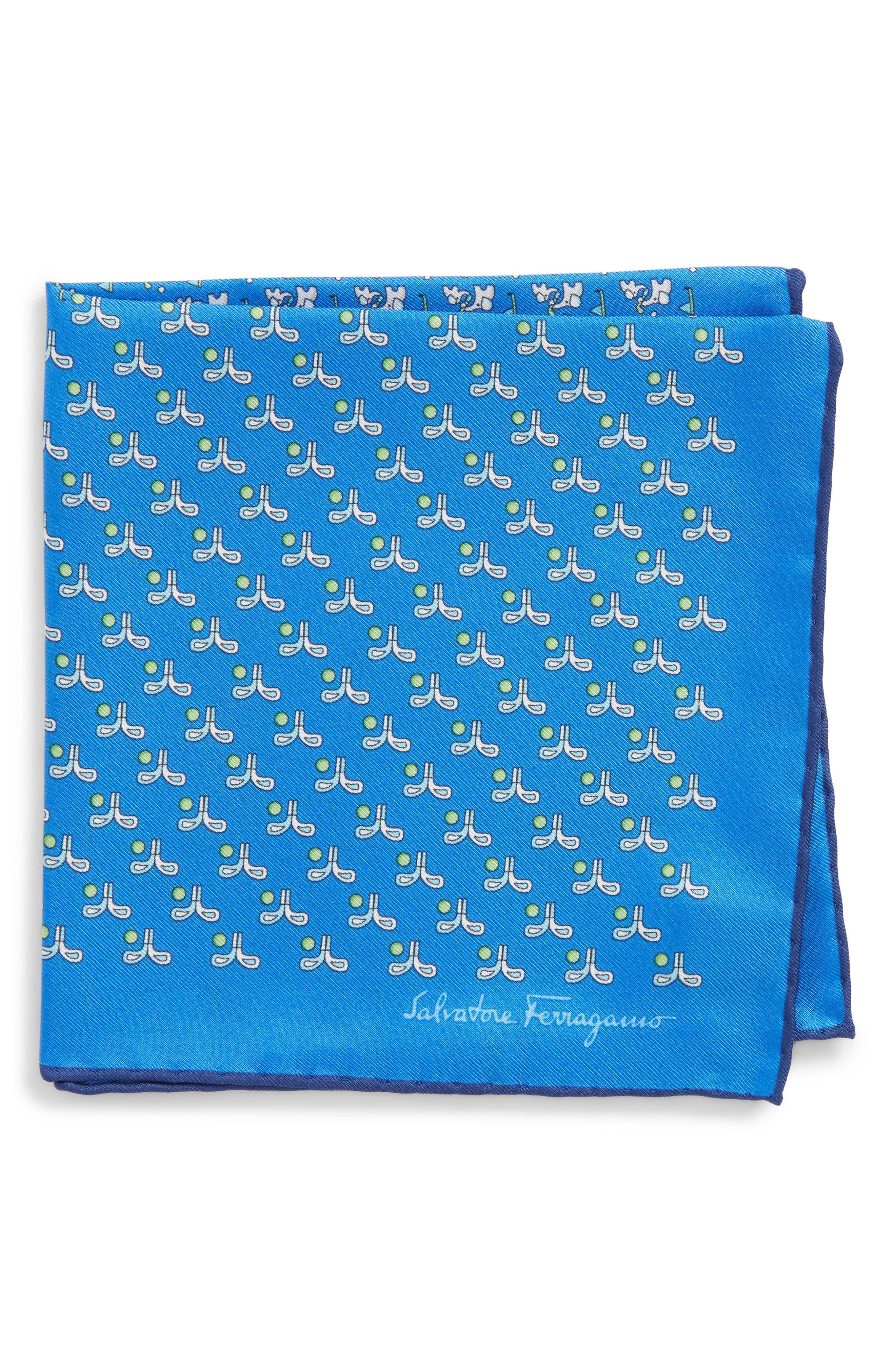 Golf Print Silk Pocket Square,                             Main thumbnail 1, color,                             Royal Blue