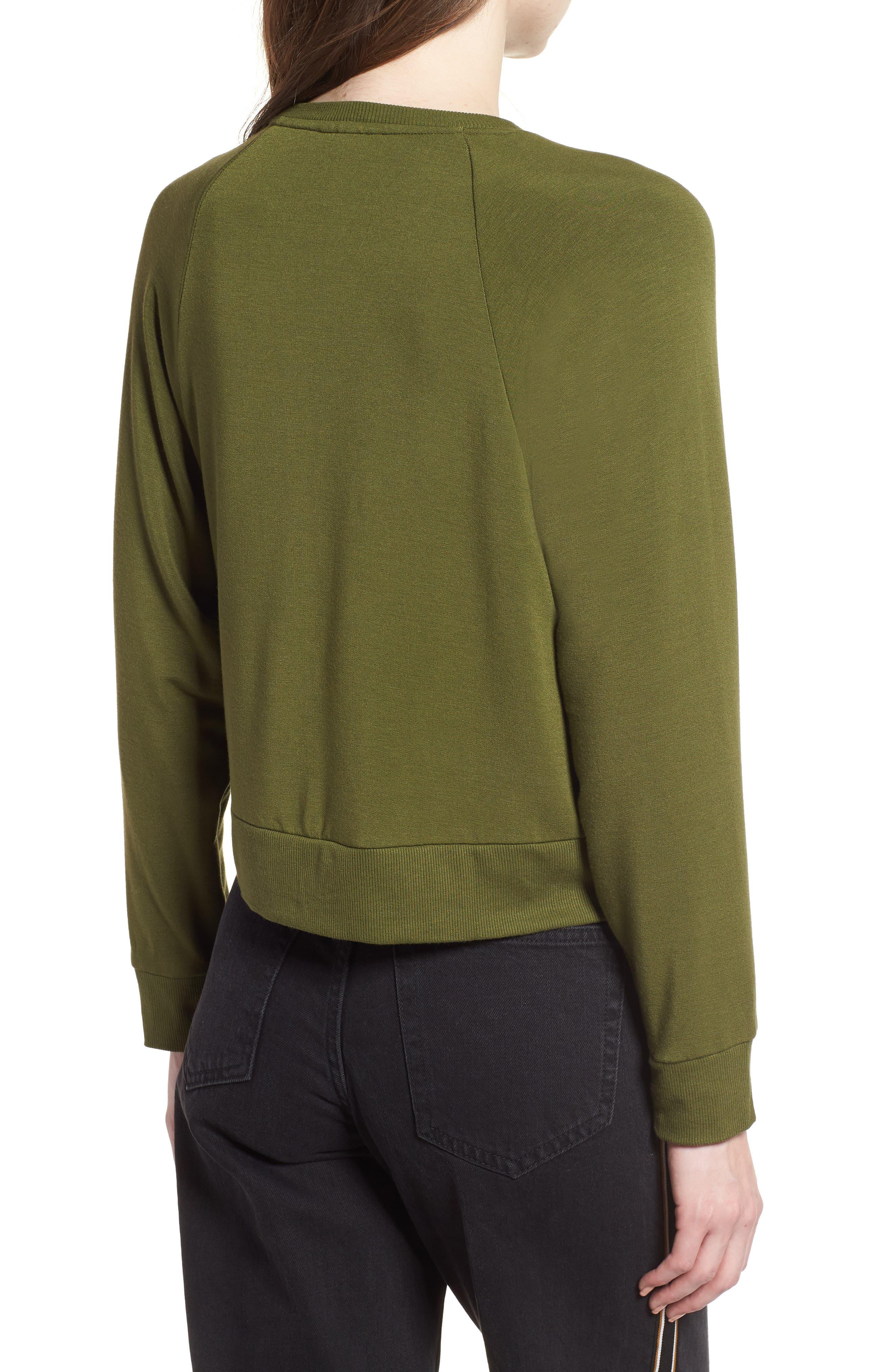 Raglan Sweatshirt,                             Alternate thumbnail 2, color,                             Olive