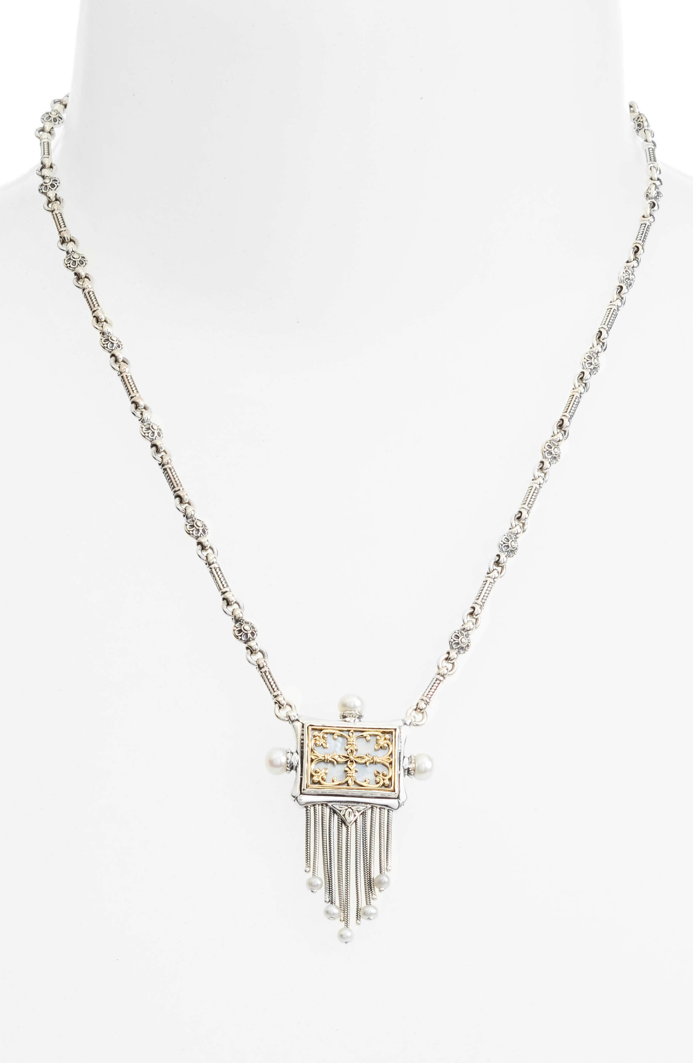 Etched Sterling Silver & Pearl Fringe Pendant,                             Alternate thumbnail 2, color,                             Silver/ Gold/ White
