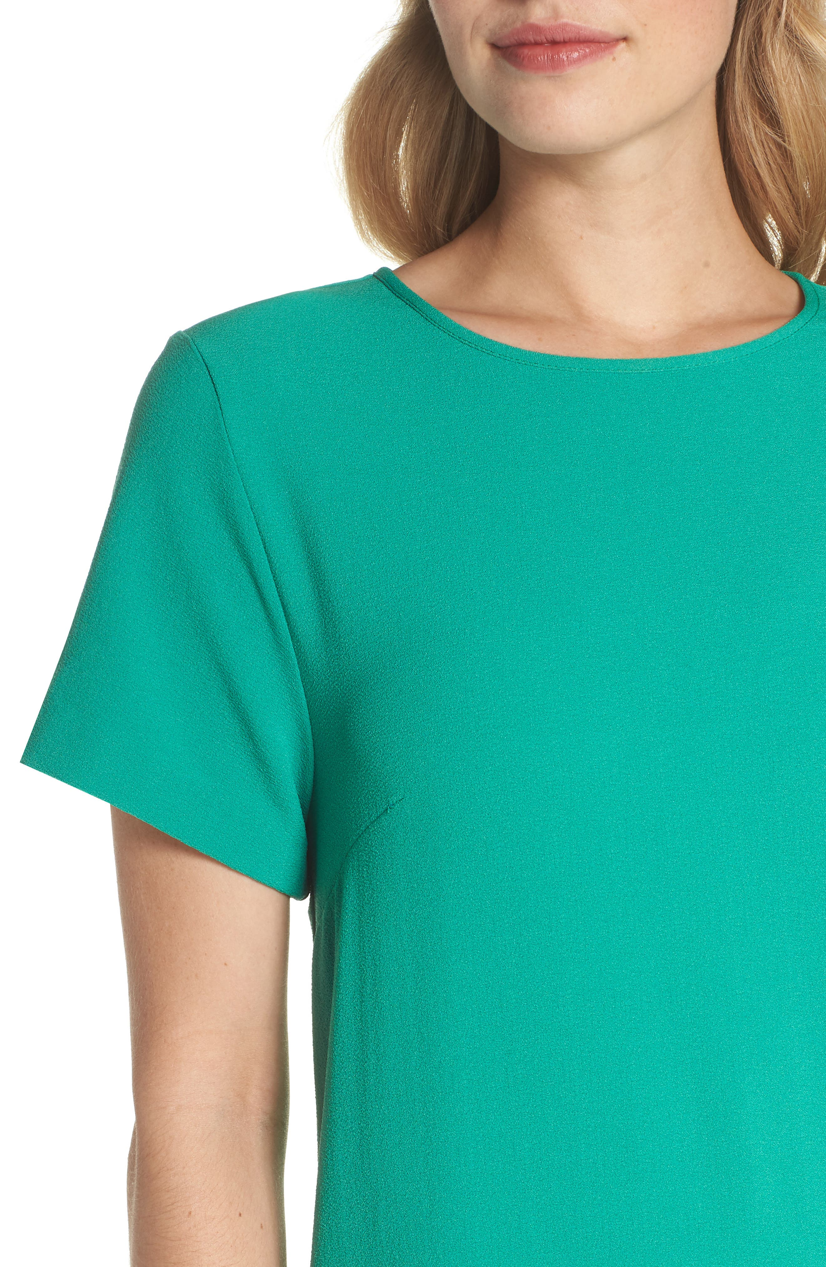 Devery Crepe Shift Dress,                             Alternate thumbnail 4, color,                             Emerald Green