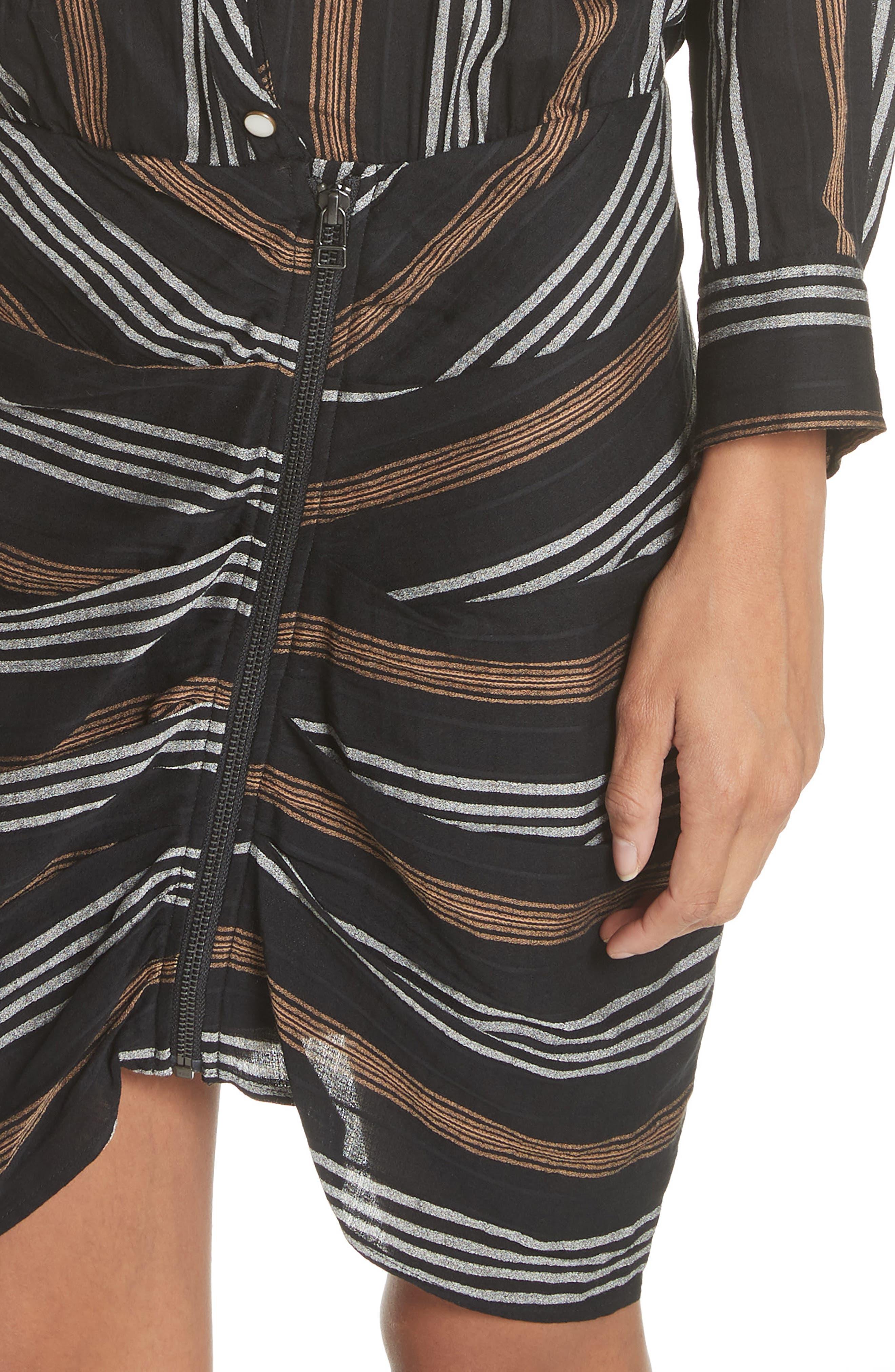 Emory Stripe Shirtdress,                             Alternate thumbnail 4, color,                             Black Multi