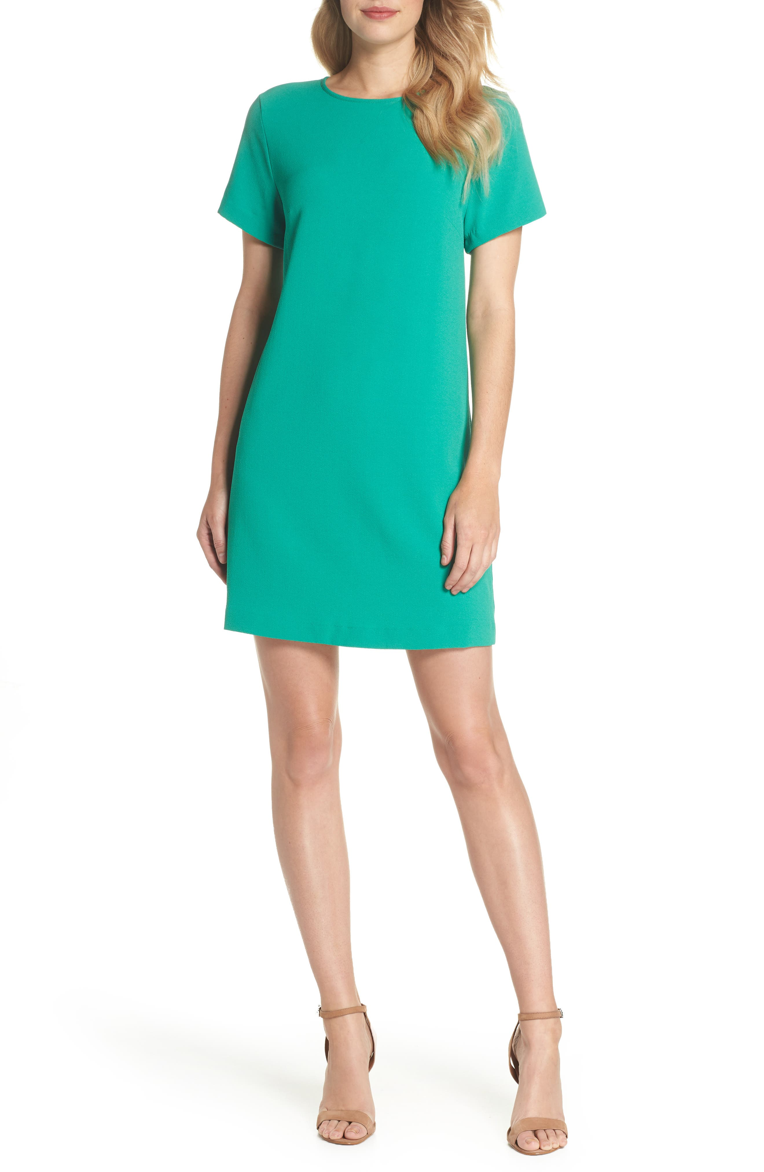 Devery Crepe Shift Dress,                         Main,                         color, Emerald Green