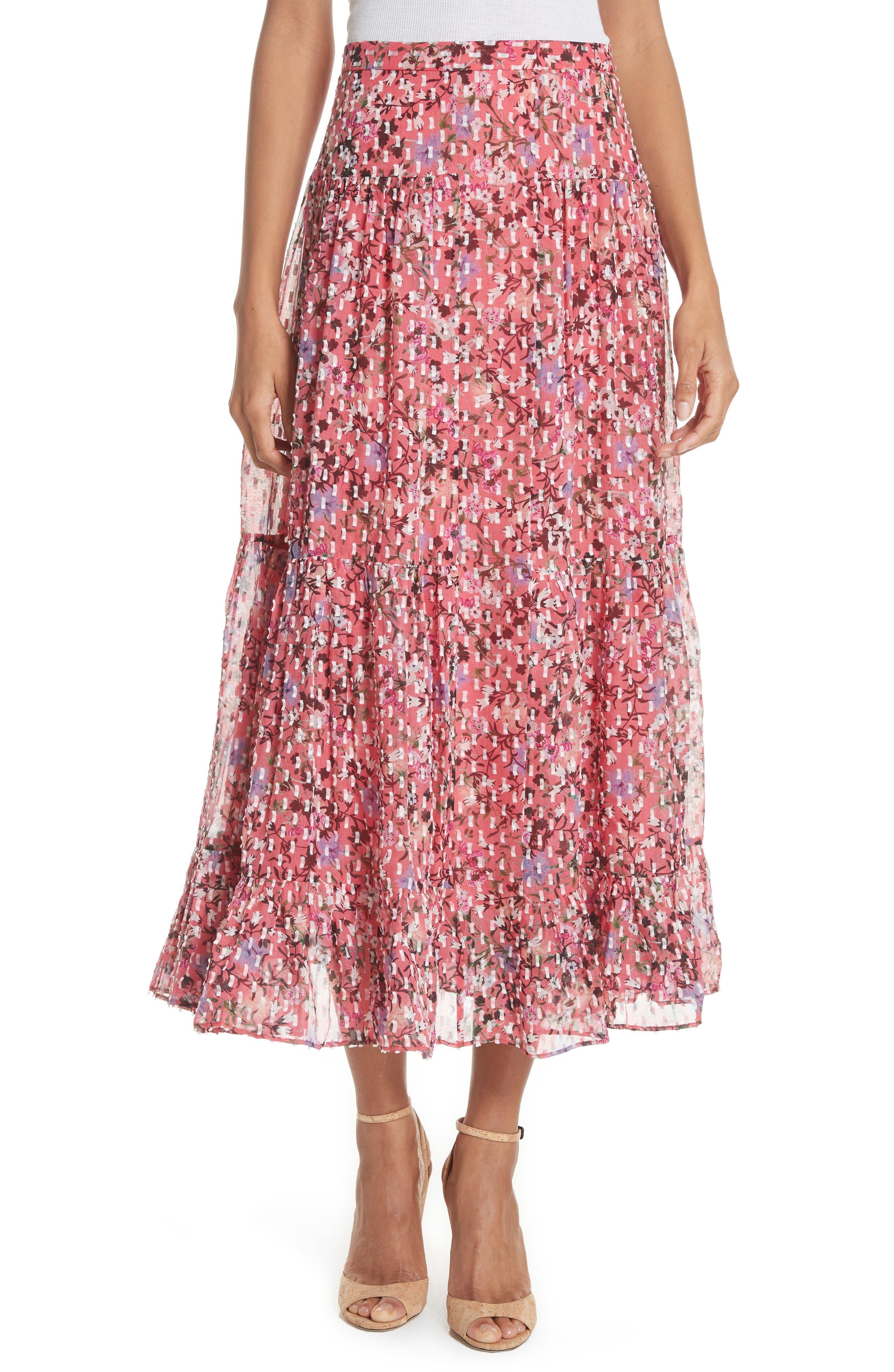 Andie Ruffle Hem Silk Blend Skirt,                             Main thumbnail 1, color,                             Coral Meadow