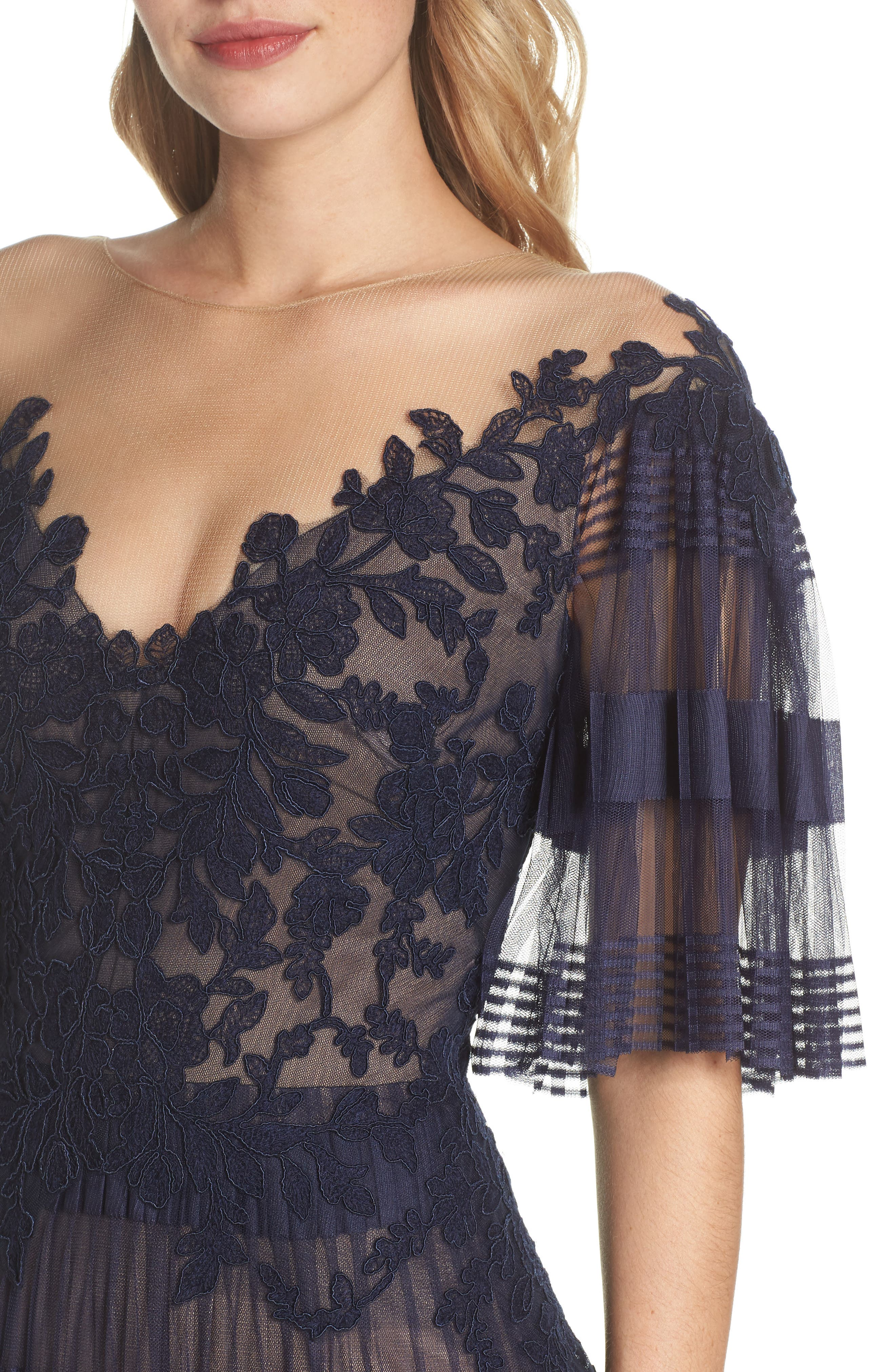 Illusion V-Neck Lace Gown,                             Alternate thumbnail 4, color,                             Navy/ Nude