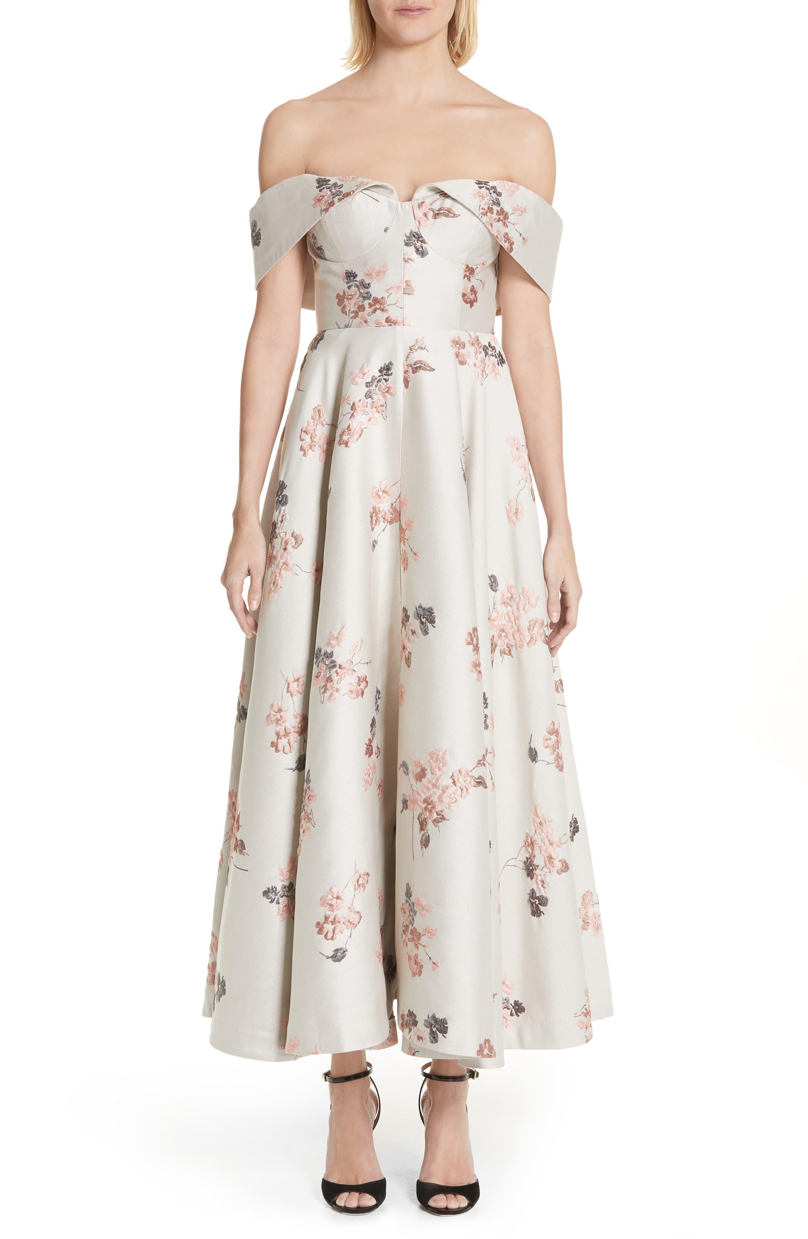 Metallic Floral Jacquard Off the Shoulder Dress,                             Main thumbnail 1, color,                             Beige/ Pink